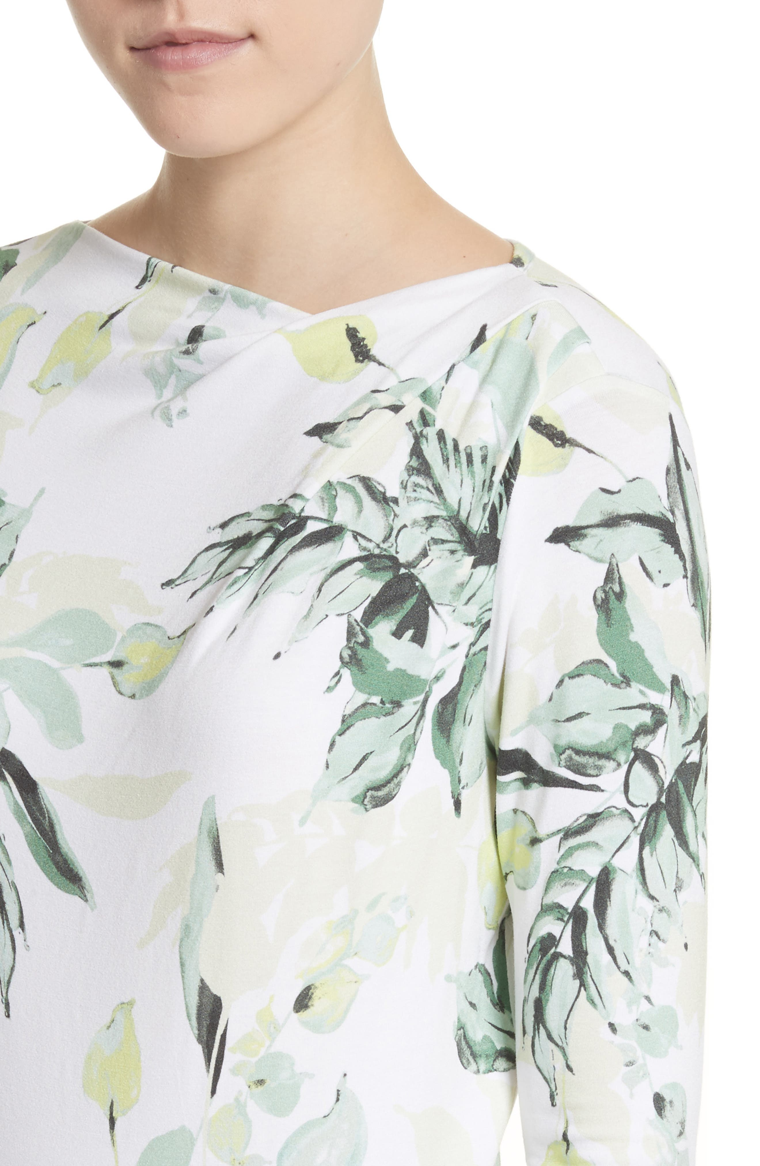 Painted Leaves Print Jersey Top,                             Alternate thumbnail 4, color,                             Bianco Multi