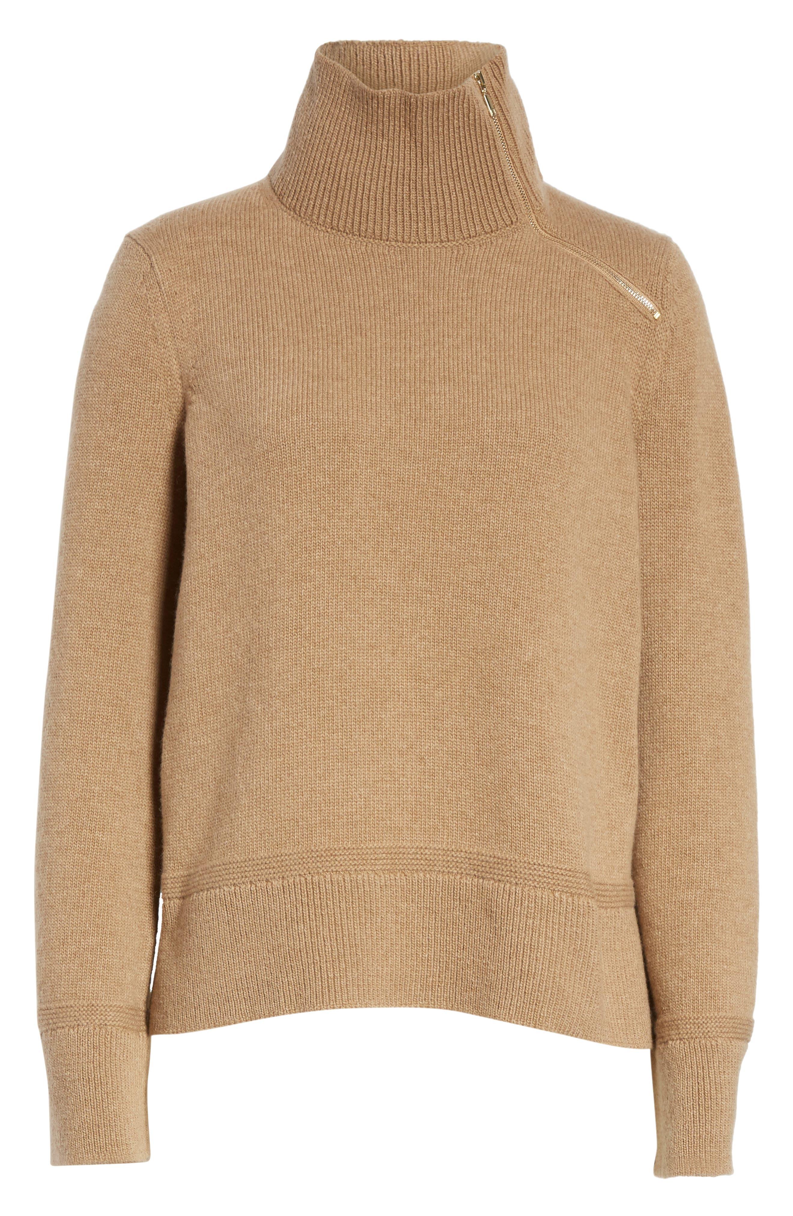 Suede Zip Detail Wool & Cashmere Crop Sweater,                             Alternate thumbnail 6, color,                             Cammello Melange
