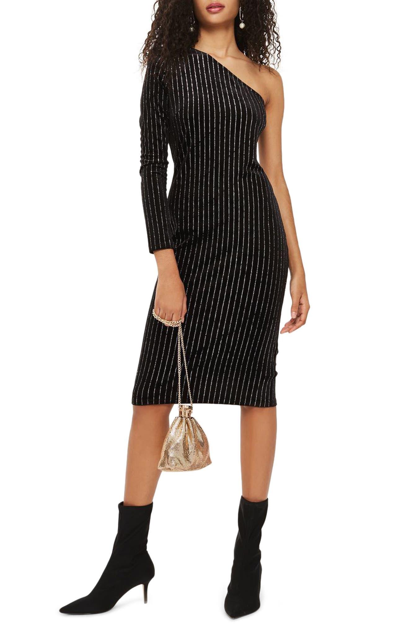 Glitter Stripe One-Shoulder Dress,                             Main thumbnail 1, color,                             Black