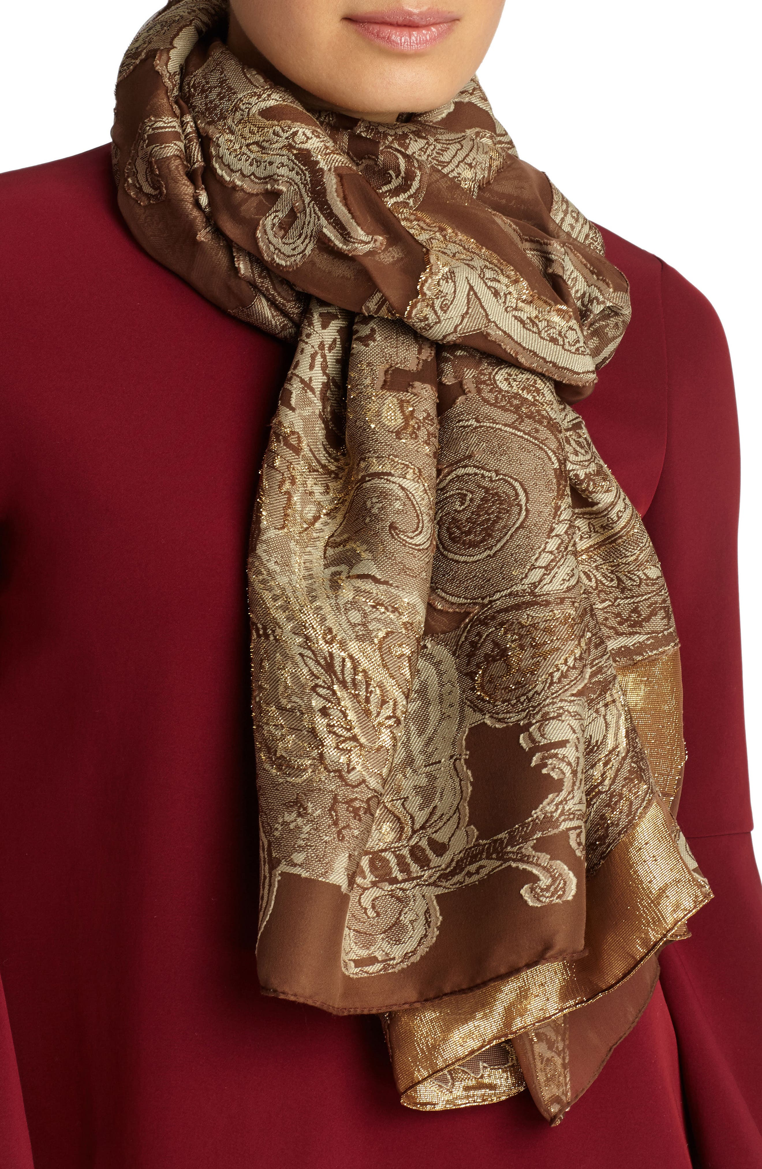 Main Image - Lafayette 148 New York Guilded Paisley Scarf