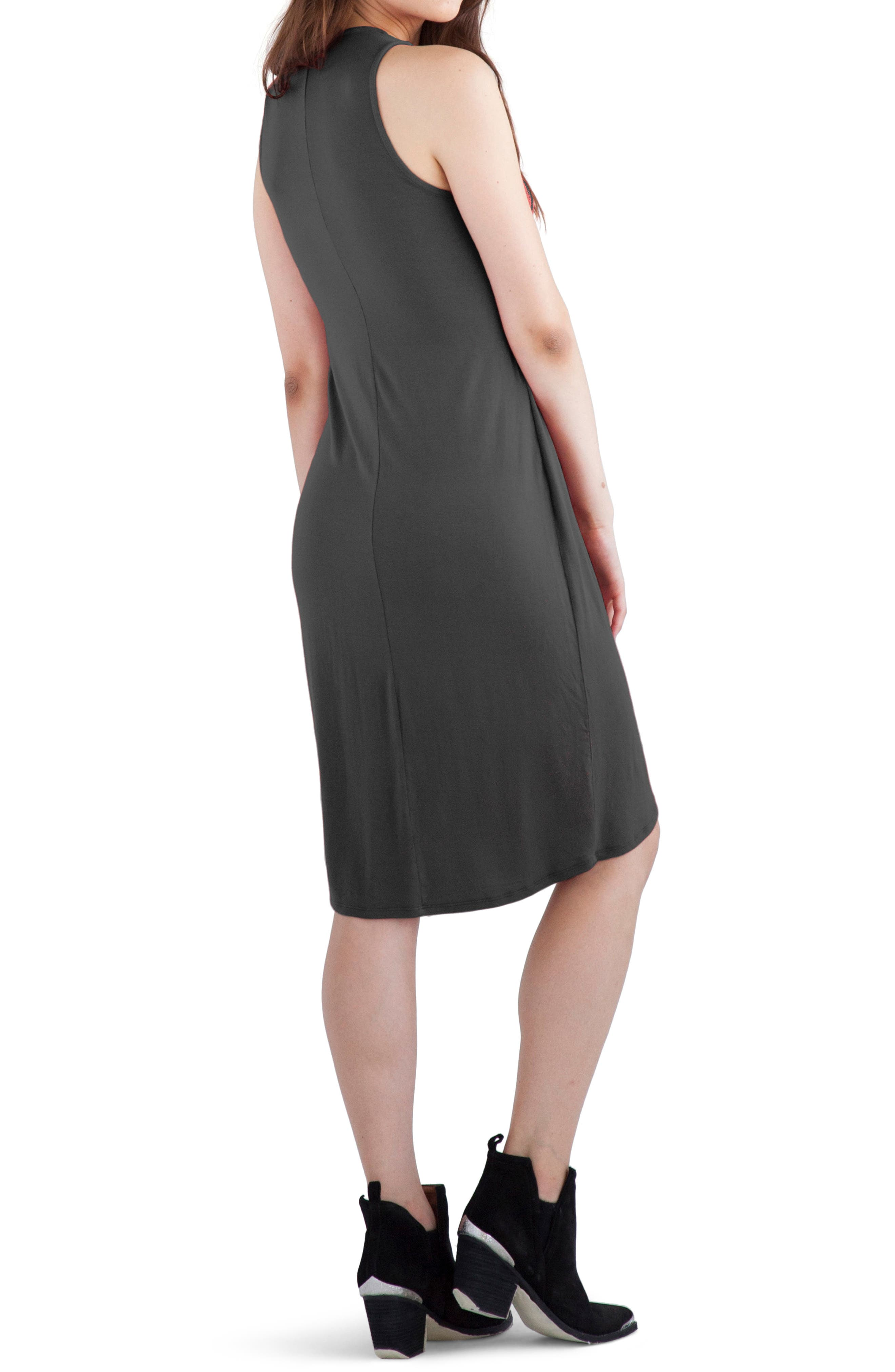 'Elba' Asymmetrical Hem Sleeveless Jersey Dress,                             Alternate thumbnail 2, color,                             Raven