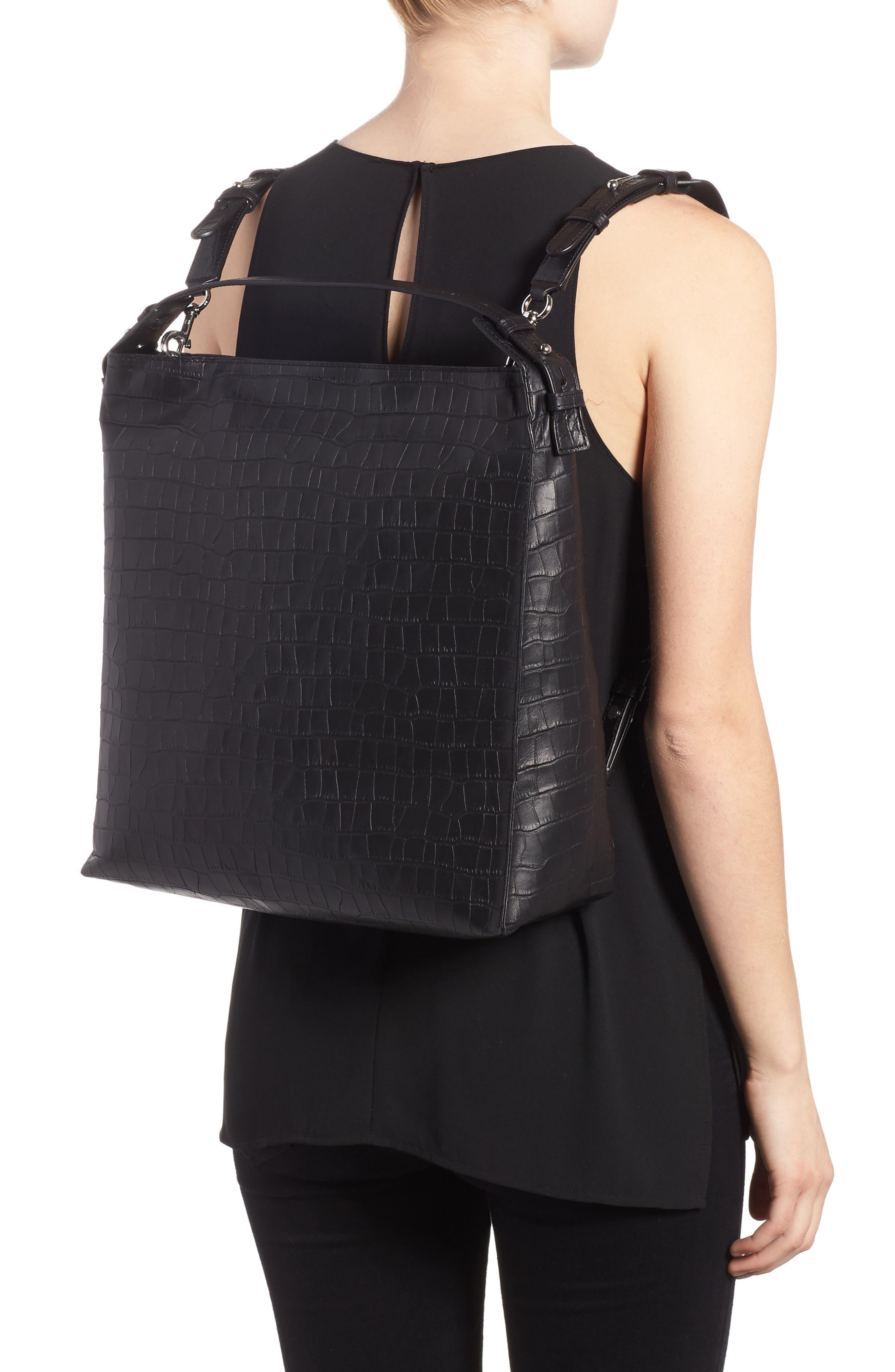 Atlas Convertible Leather Backpack,                             Alternate thumbnail 2, color,                             Black