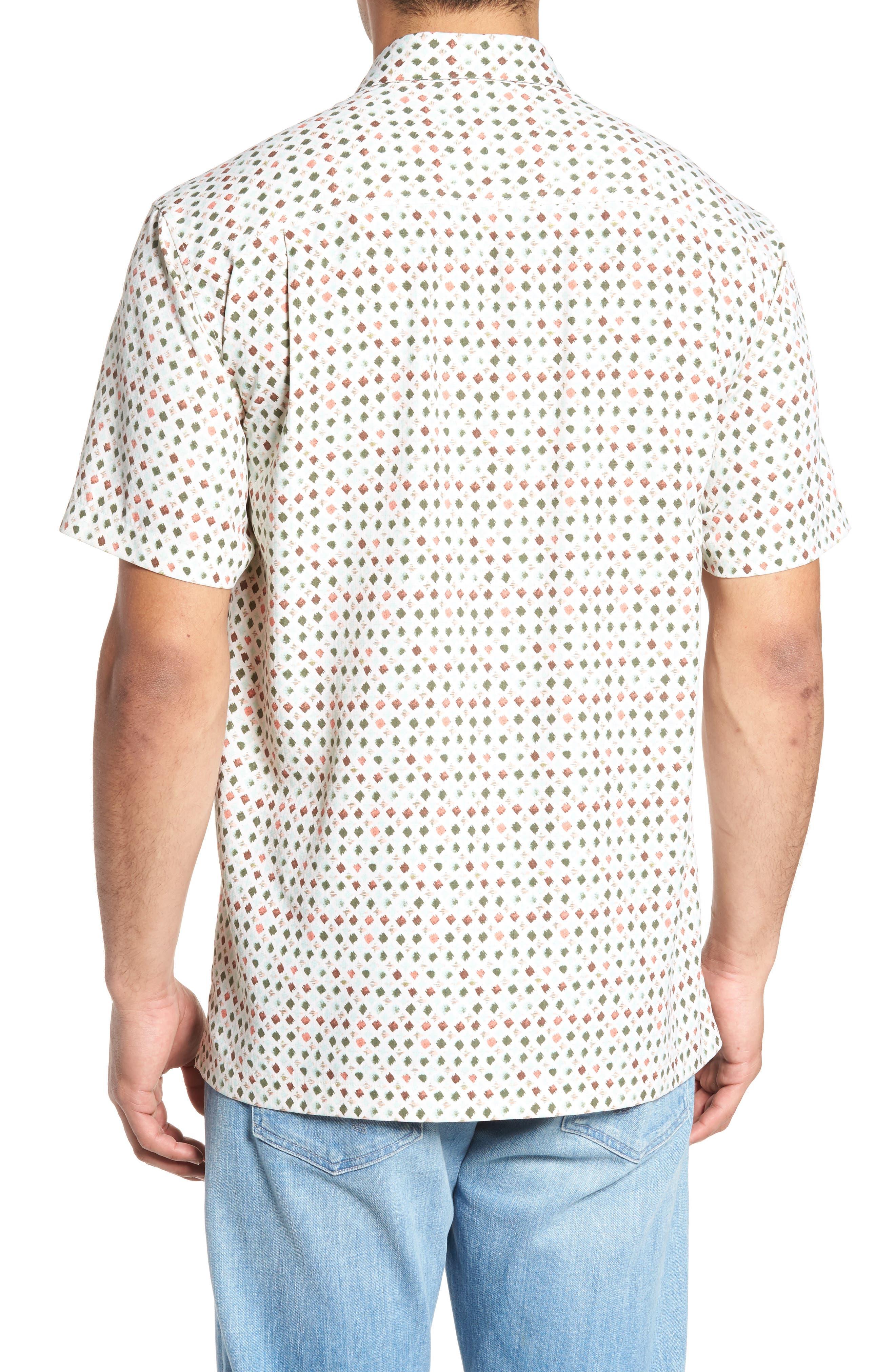 Atomic Geo Print Silk Sport Shirt,                             Alternate thumbnail 2, color,                             Coconut Cream