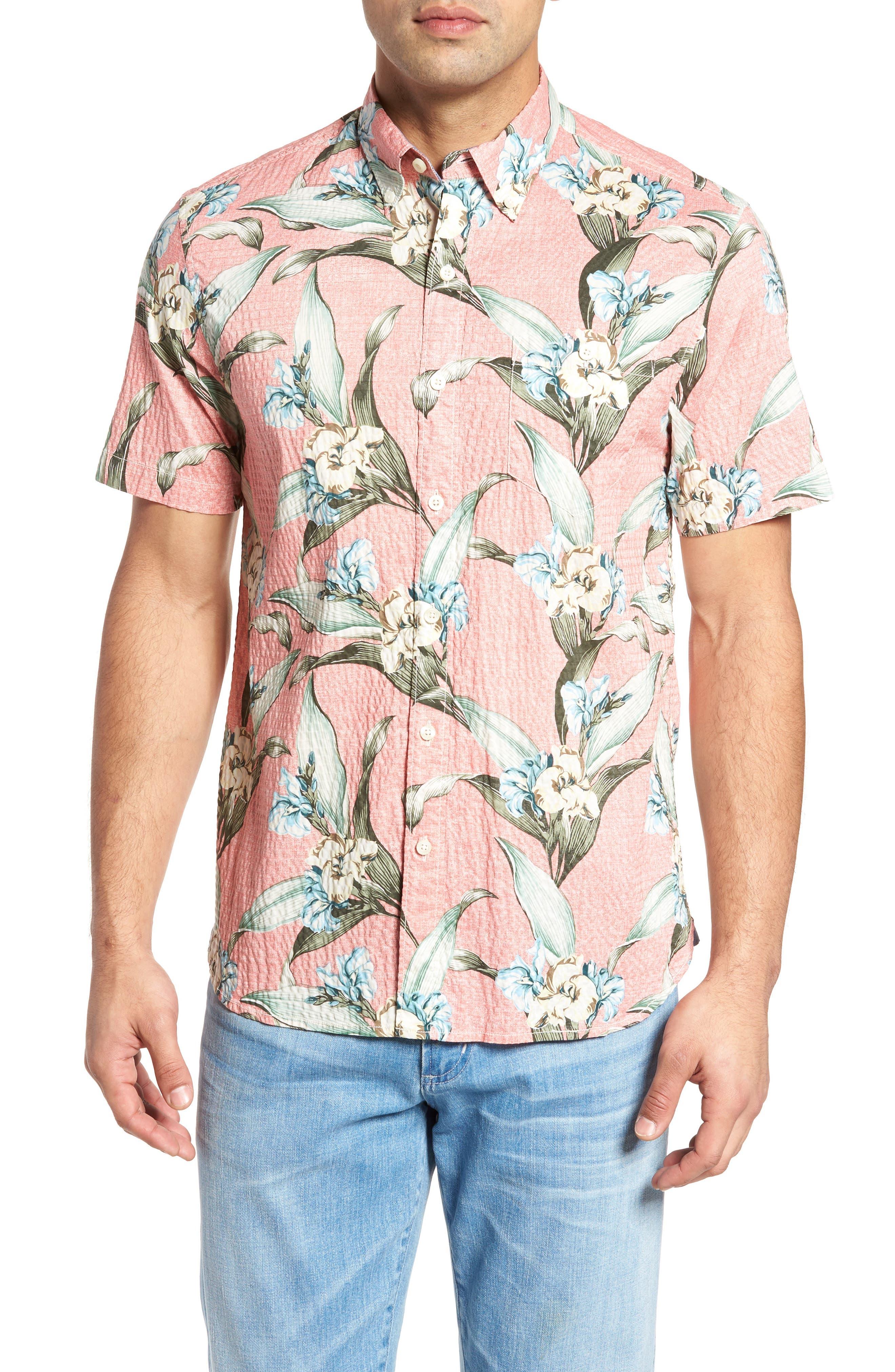 Cape Floral Seersucker Sport Shirt,                             Main thumbnail 1, color,                             Shellrossa