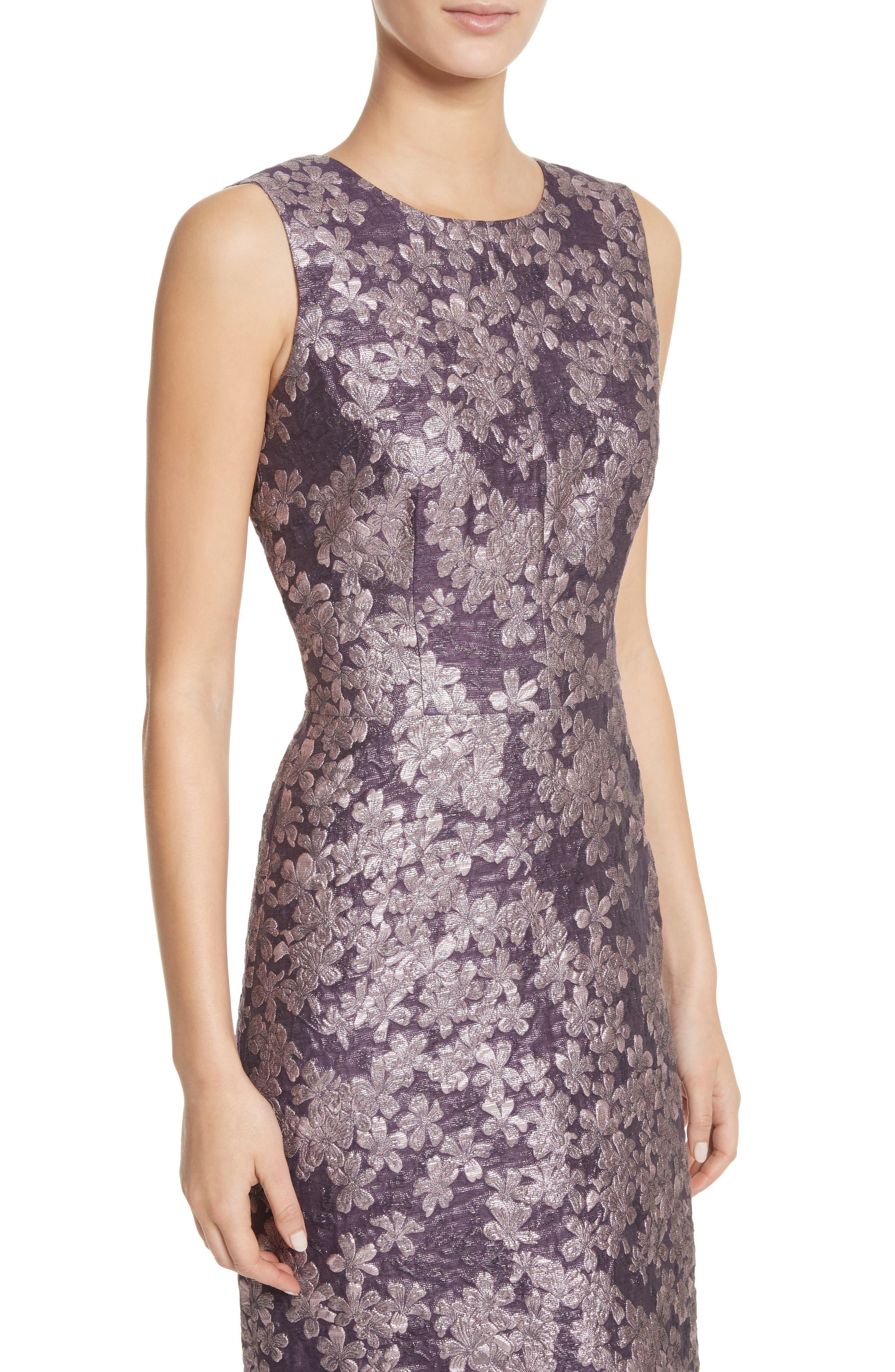 Metallic Floral Jacquard Dress,                             Alternate thumbnail 4, color,                             Orchid Multi