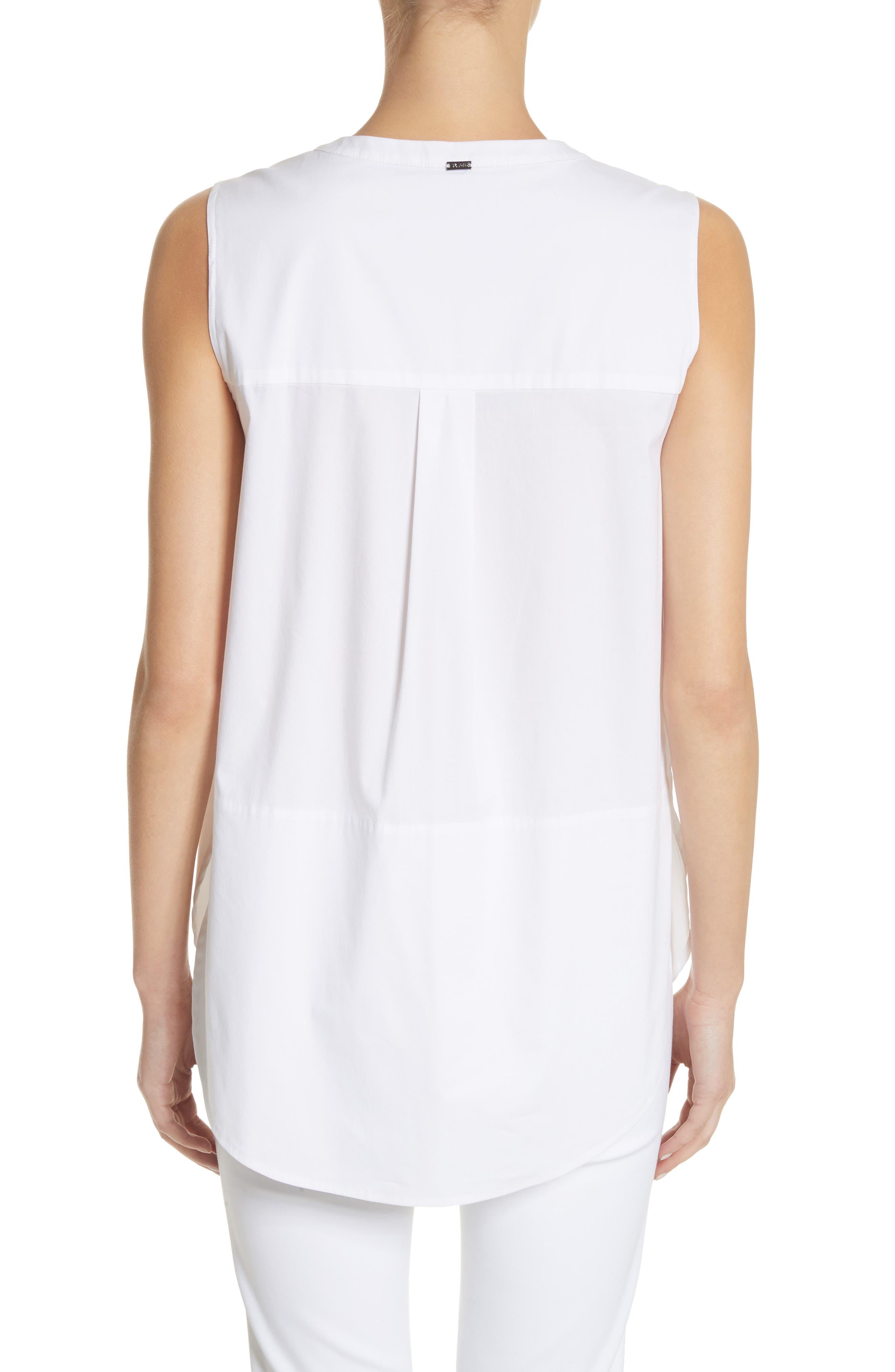 Stretch Shirting Sleeveless Top,                             Alternate thumbnail 3, color,                             Bianco
