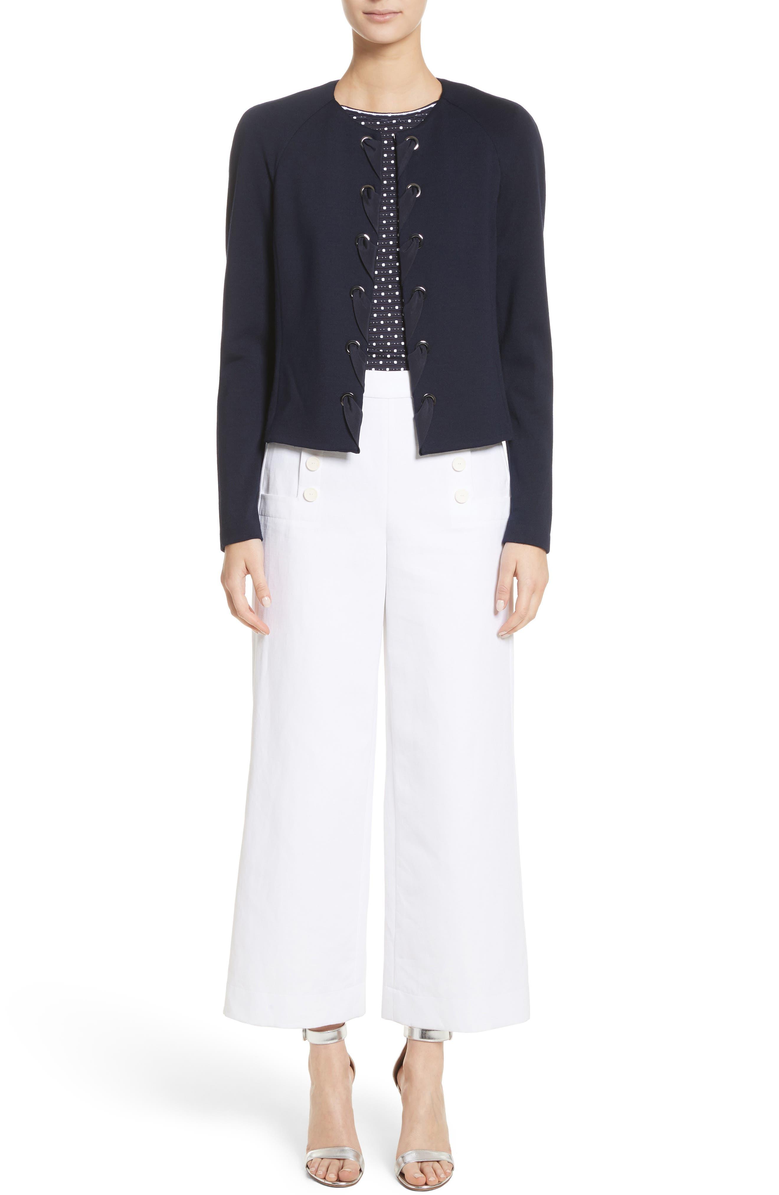 Cotton & Linen Crop Wide Leg Pants,                             Alternate thumbnail 8, color,                             Bianco