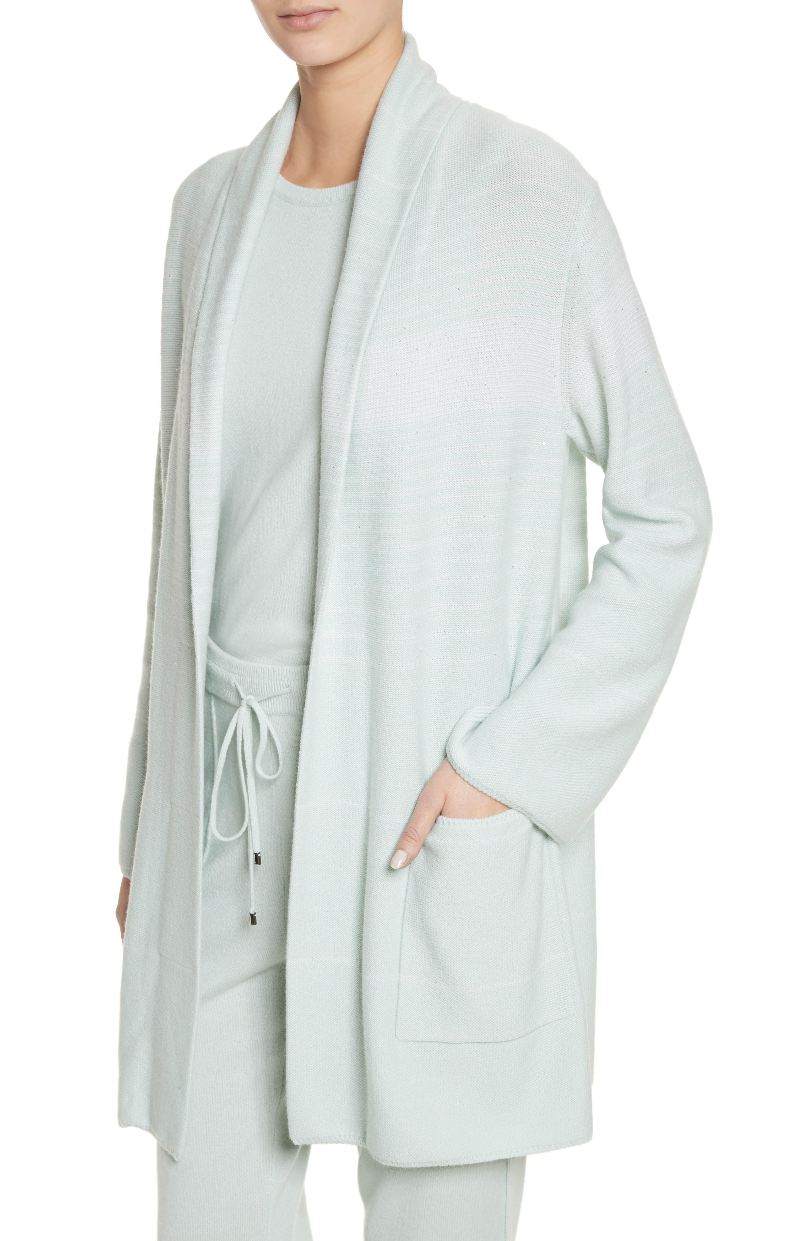 Sequin Cashmere & Silk Cardigan,                             Alternate thumbnail 4, color,                             Mint/ Cream