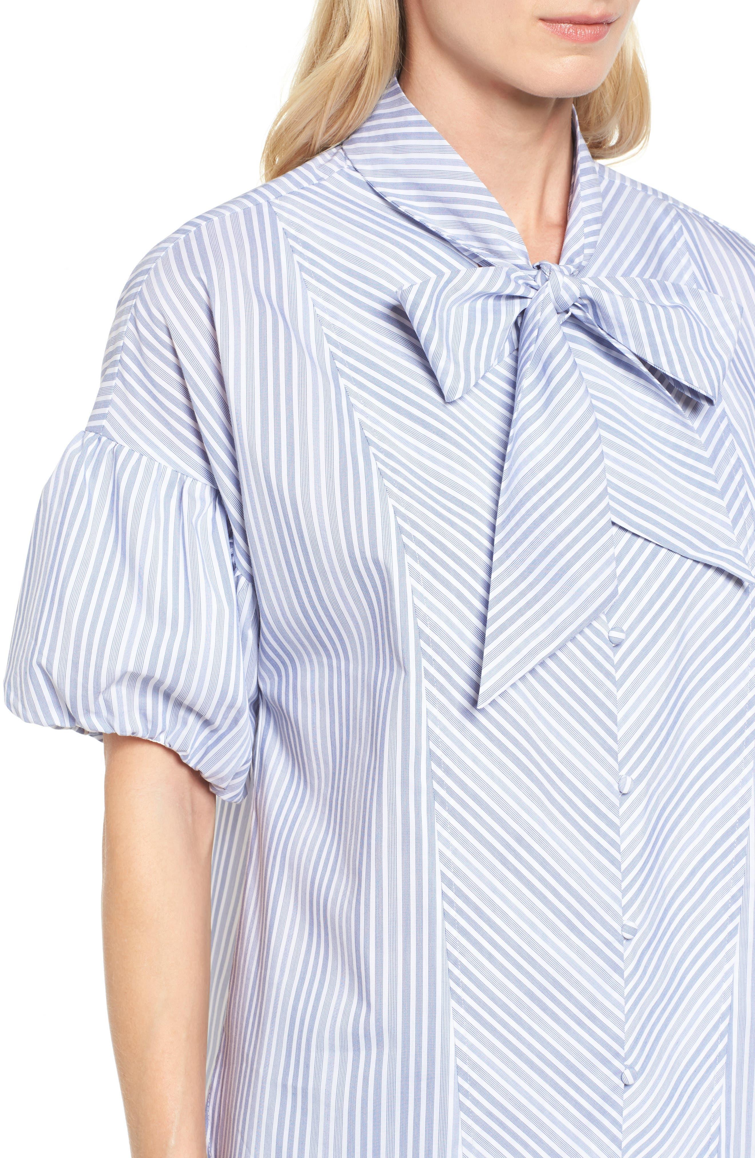 Tie Front Short Sleeve Blouse,                             Alternate thumbnail 5, color,                             Blue- White Stripe