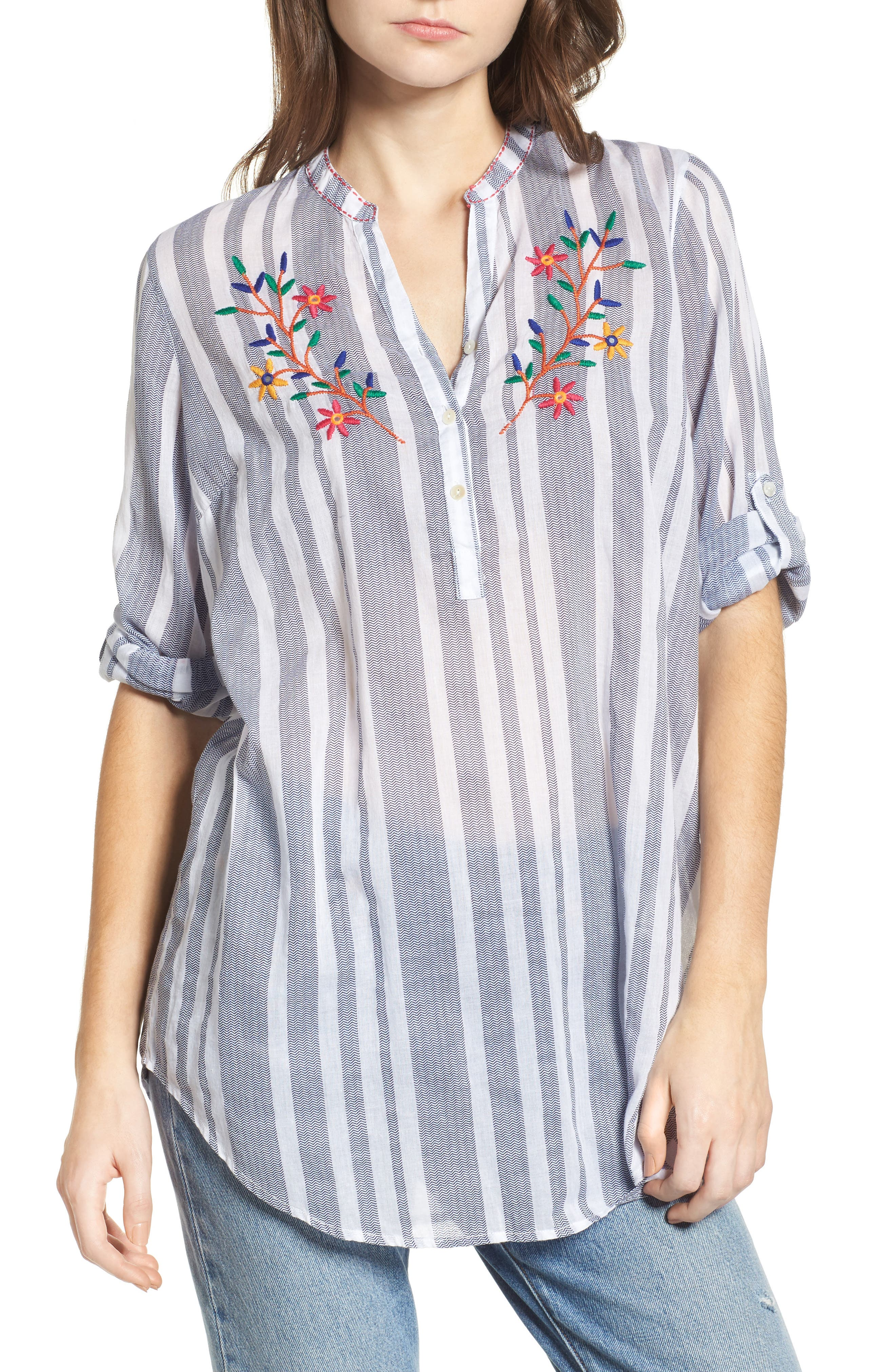 Setting Sail Embroidered Stripe Henley,                         Main,                         color, Blue/ White