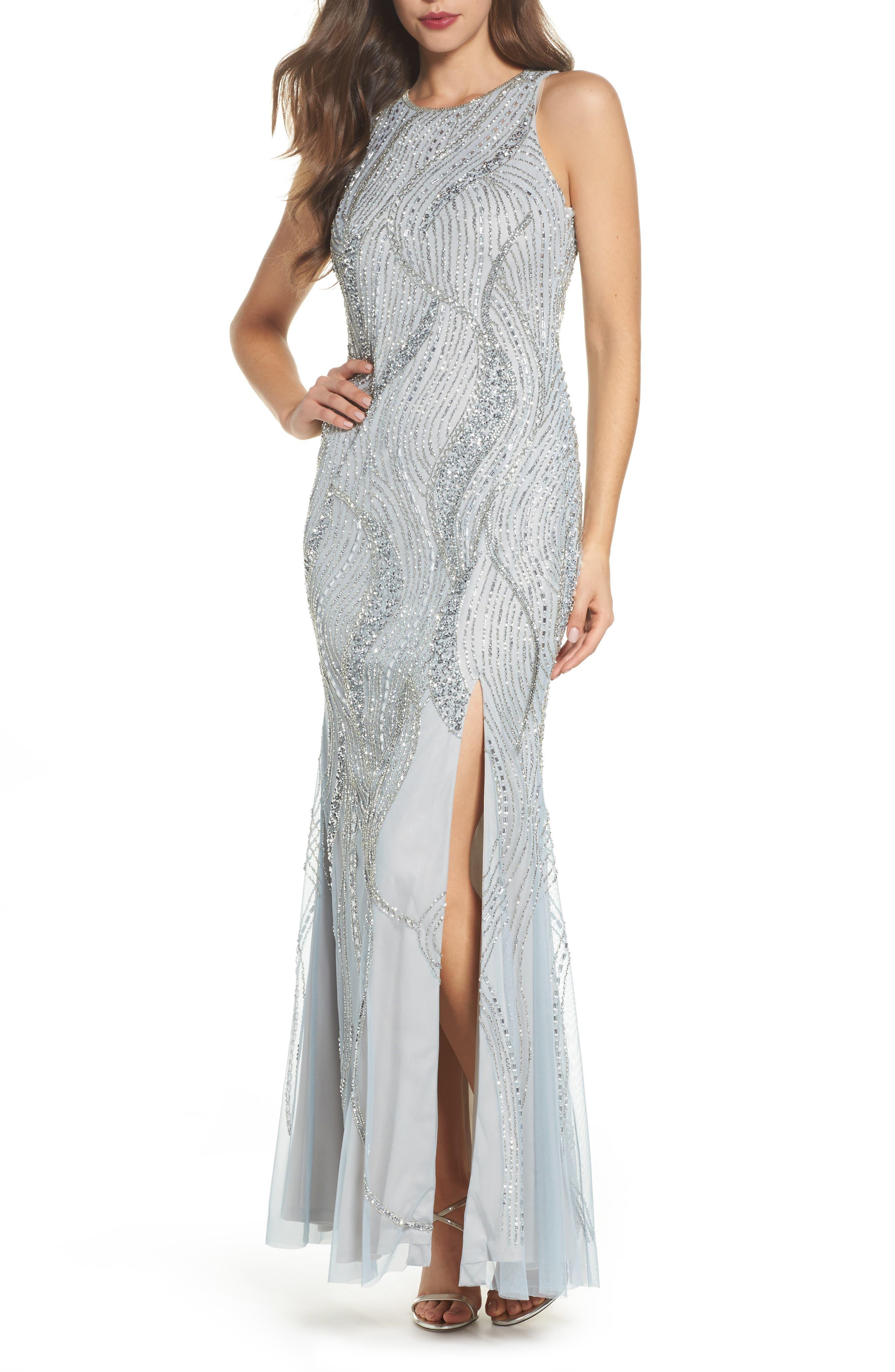 Swirl Beaded Long Dress,                         Main,                         color, Blue Heather/ Silver