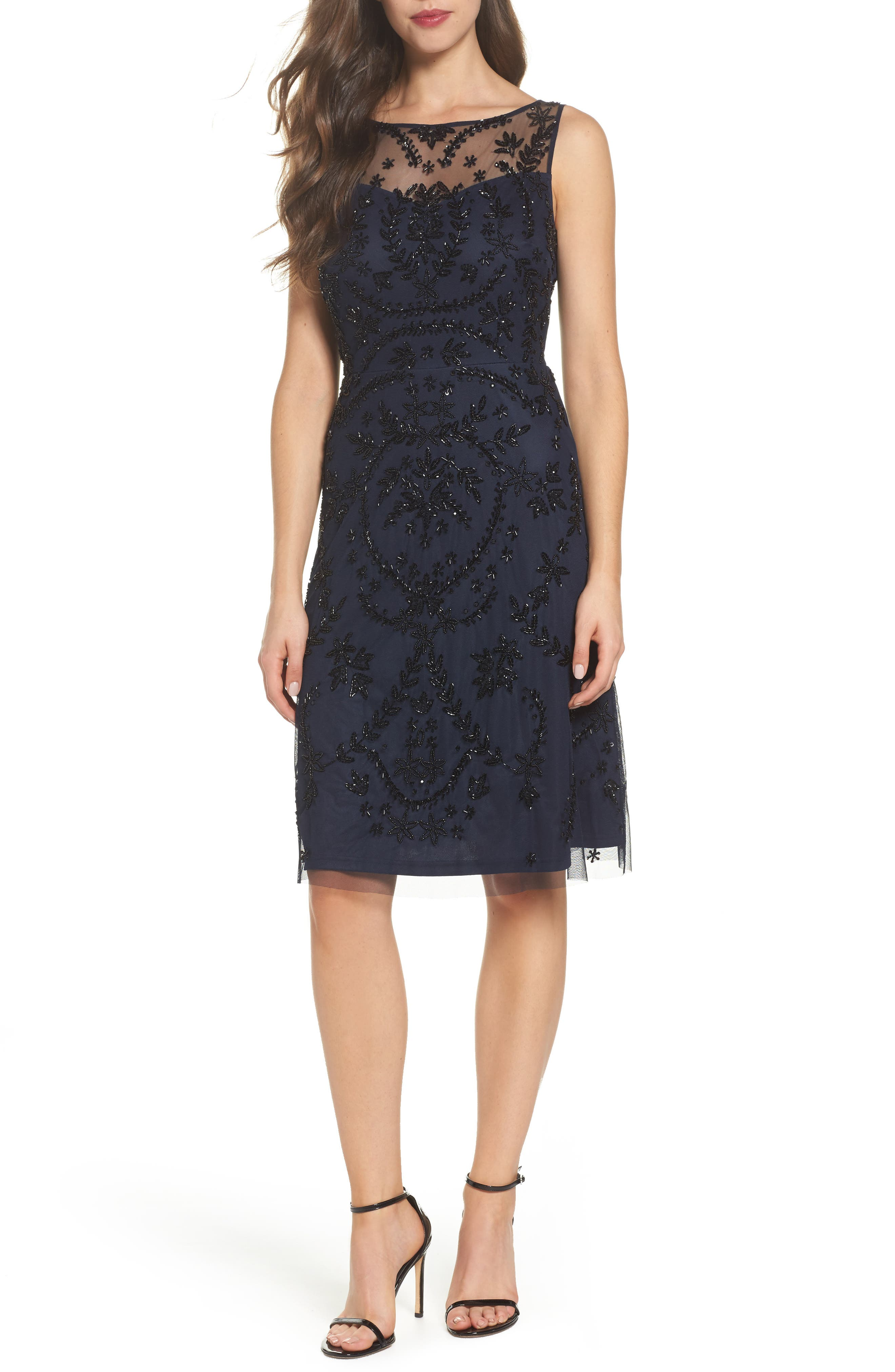 Beaded Cocktail Dress,                         Main,                         color, Midnight