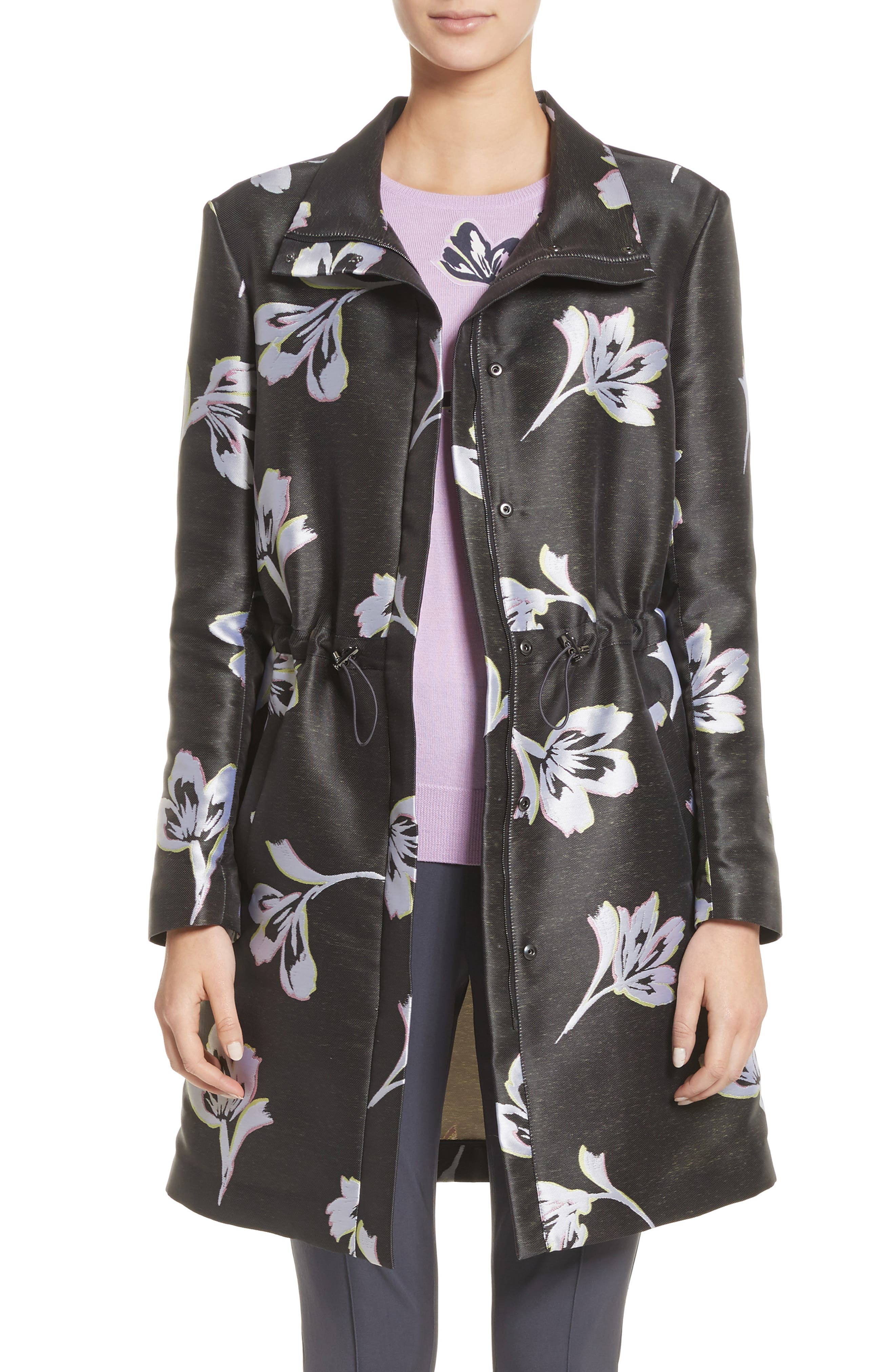 Falling Flower Jacquard Coat,                         Main,                         color, Anthracite Multi