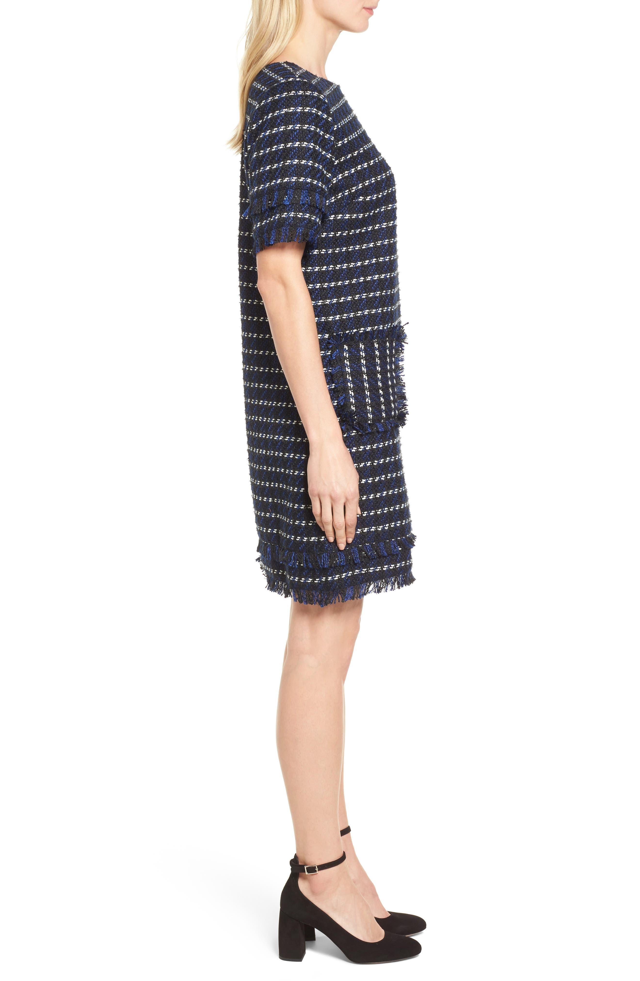 Fringe Tweed Dress,                             Alternate thumbnail 3, color,                             Black- Navy Tweed