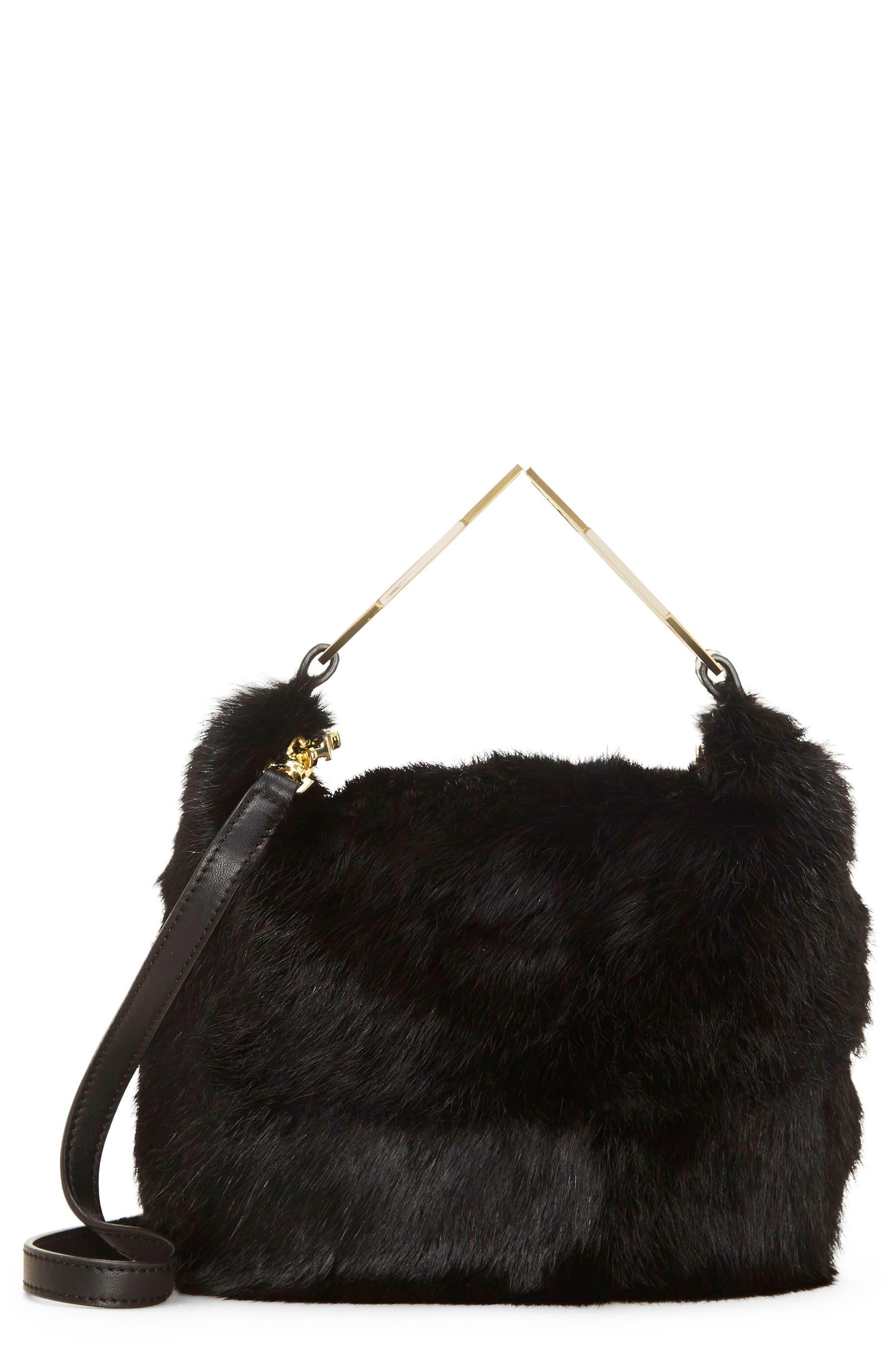 Tysse Genuine Rabbit Fur Bracelet Bag,                             Main thumbnail 1, color,                             Black