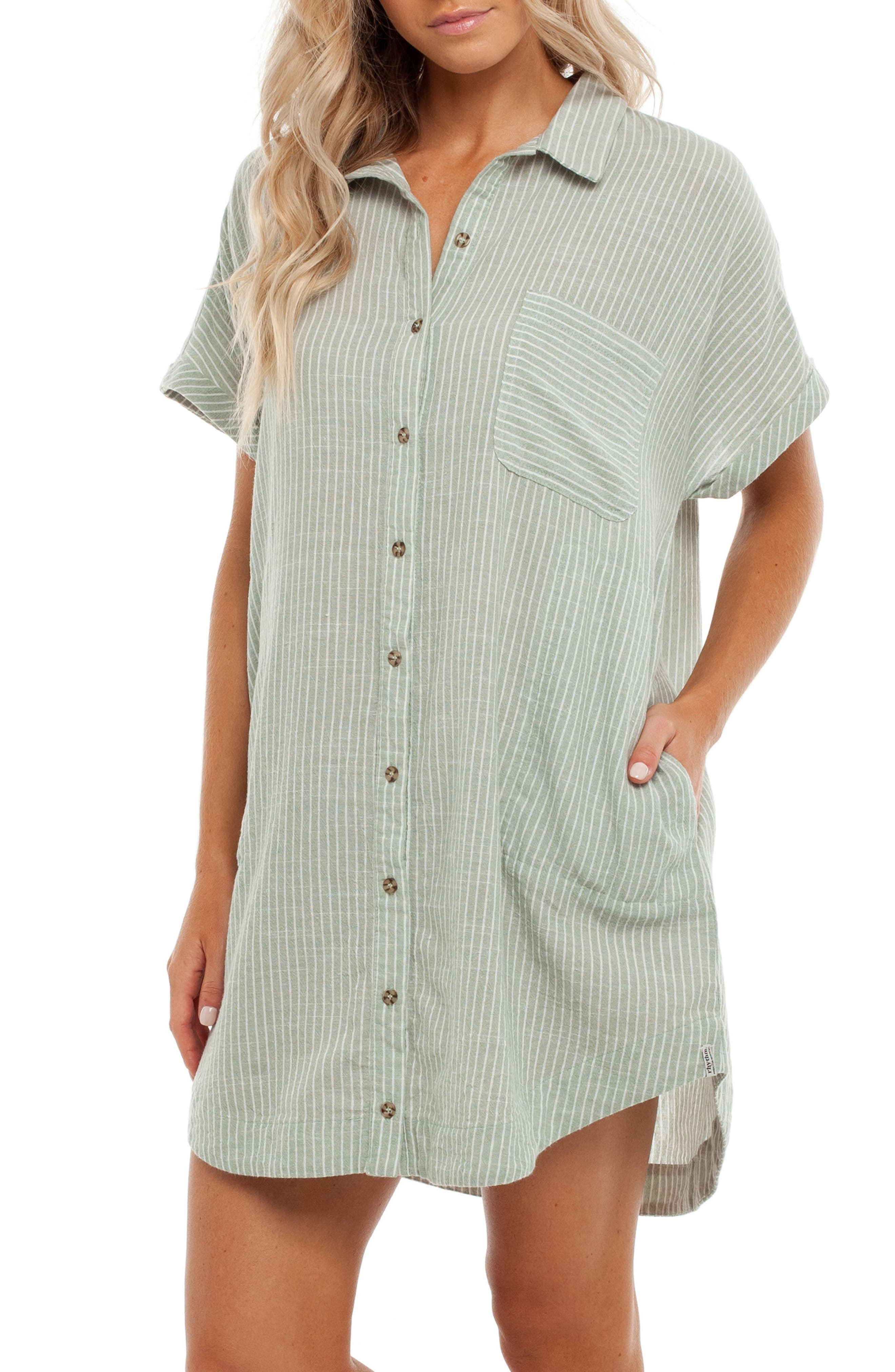 Seaside Cover-Up Dress,                             Alternate thumbnail 3, color,                             Palm