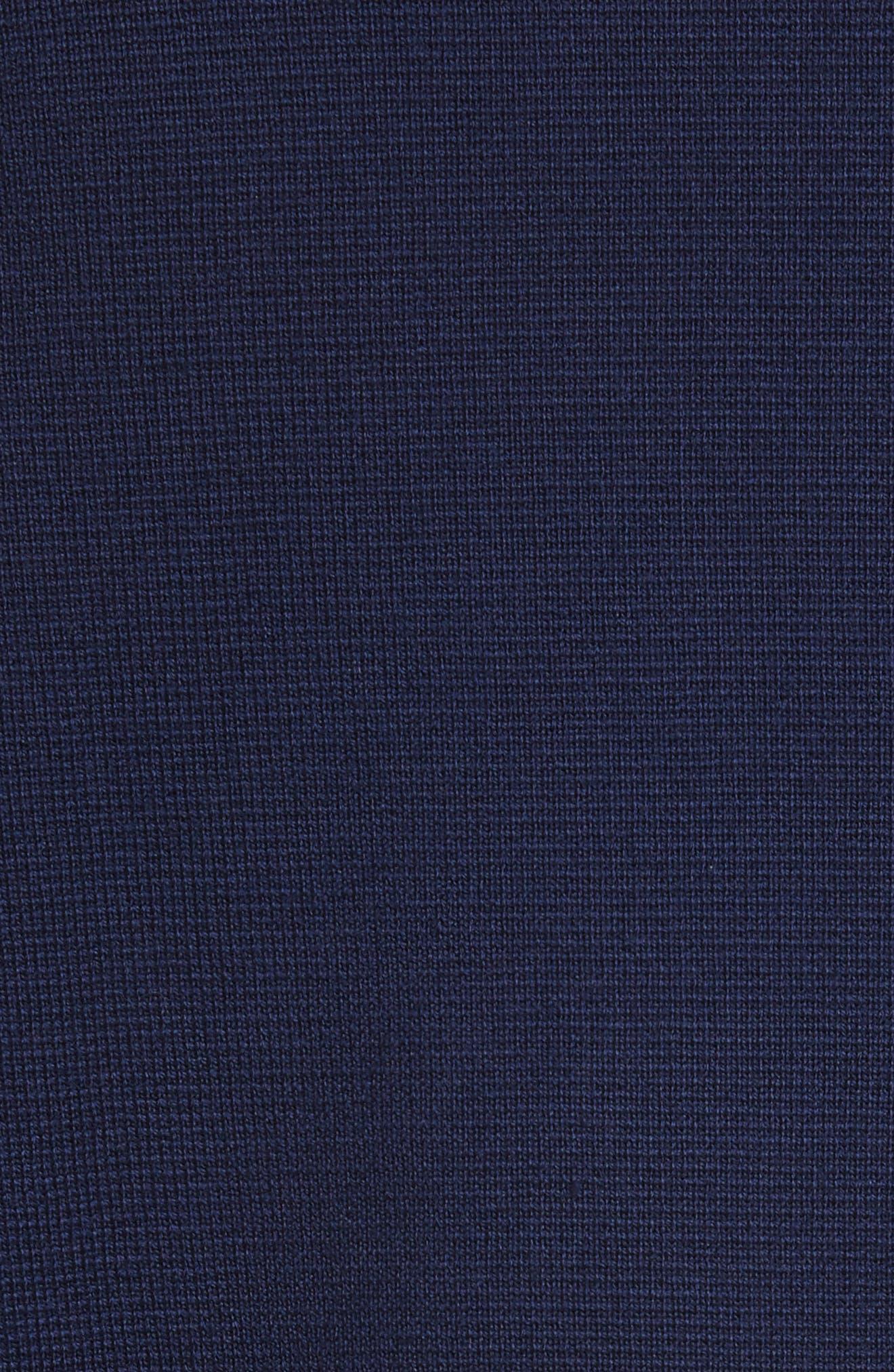 Merino Wool Blend Sweater with Shoulder Zip Trim,                             Alternate thumbnail 5, color,                             Navy