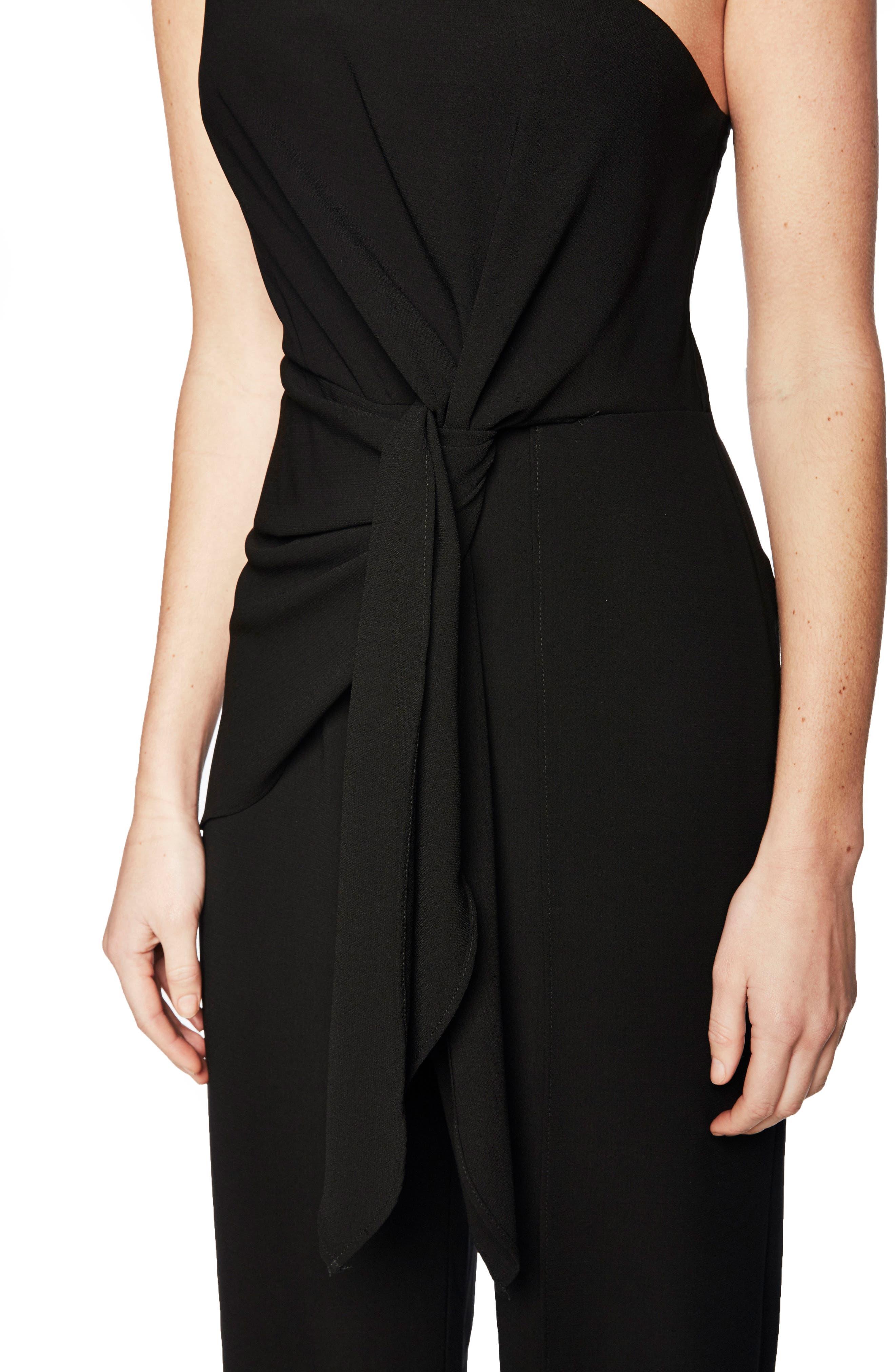 Bellini One-Shoulder Jumpsuit,                             Alternate thumbnail 5, color,                             Black