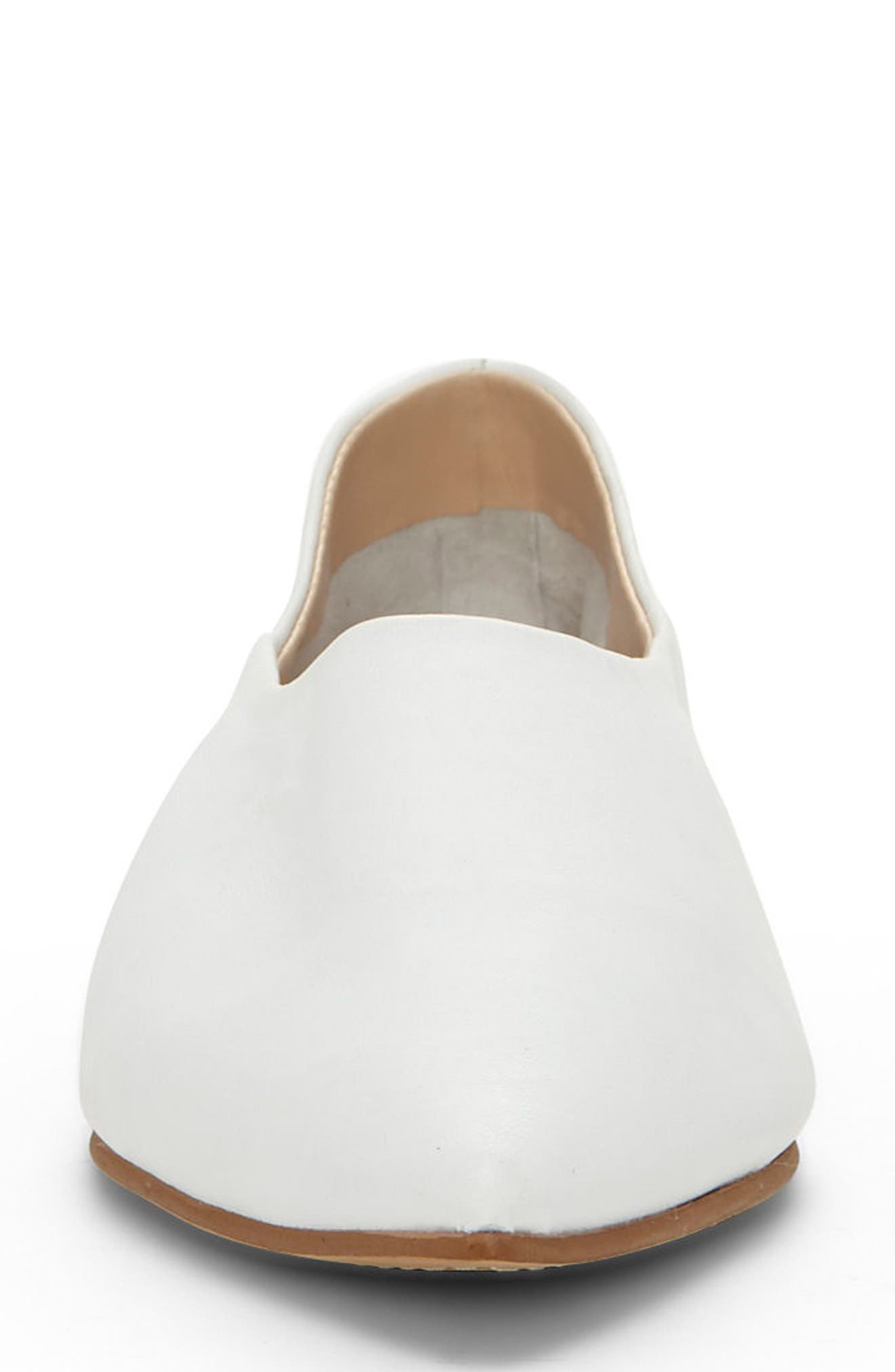 Stanta Pointy Toe Flat,                             Alternate thumbnail 4, color,                             Pure White Leather