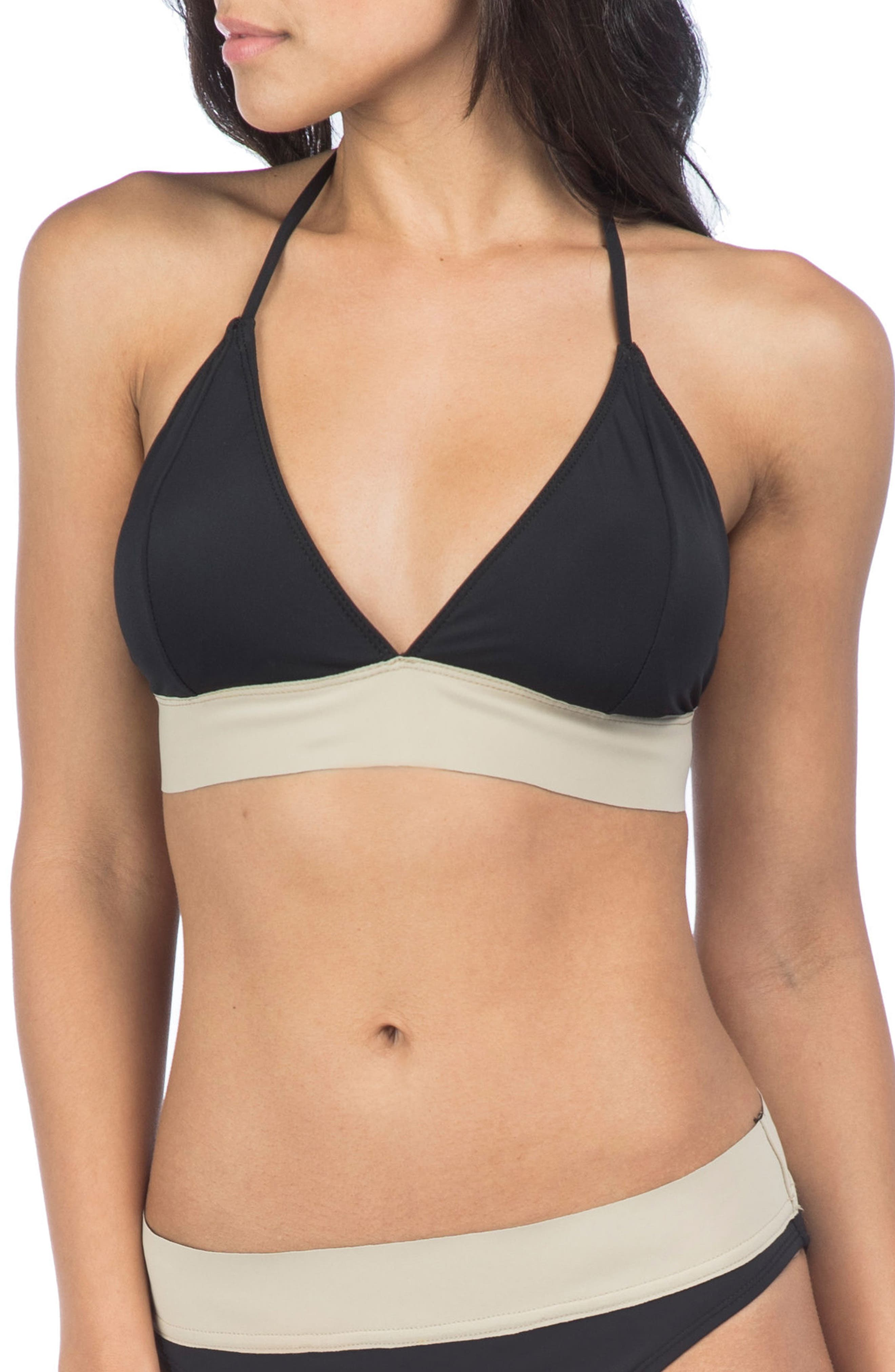 Bondage Halter Bikini Top,                             Main thumbnail 1, color,                             Black/ Pebble