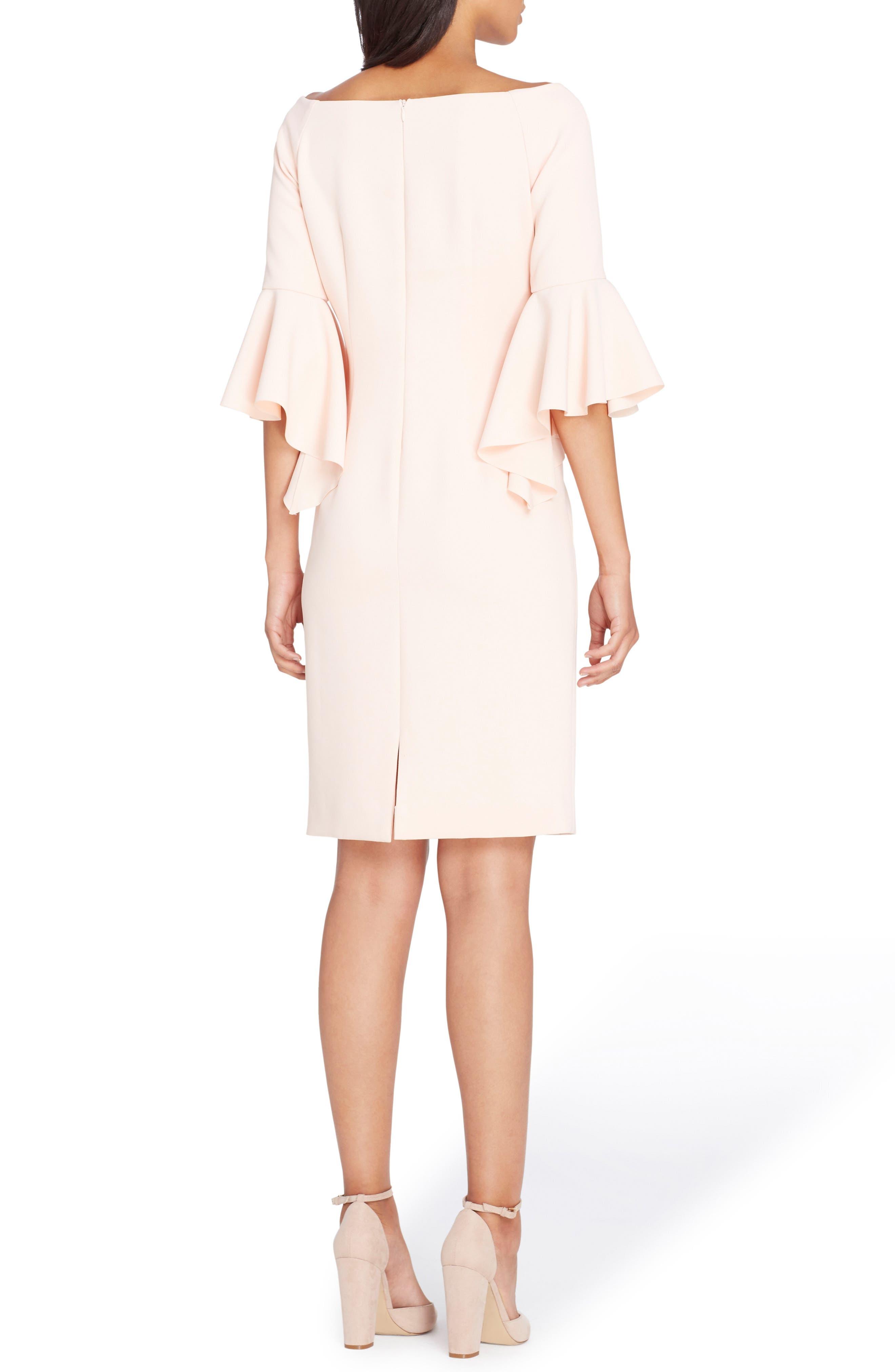 Ruffle Sleeve Sheath Dress,                             Alternate thumbnail 2, color,                             Blush