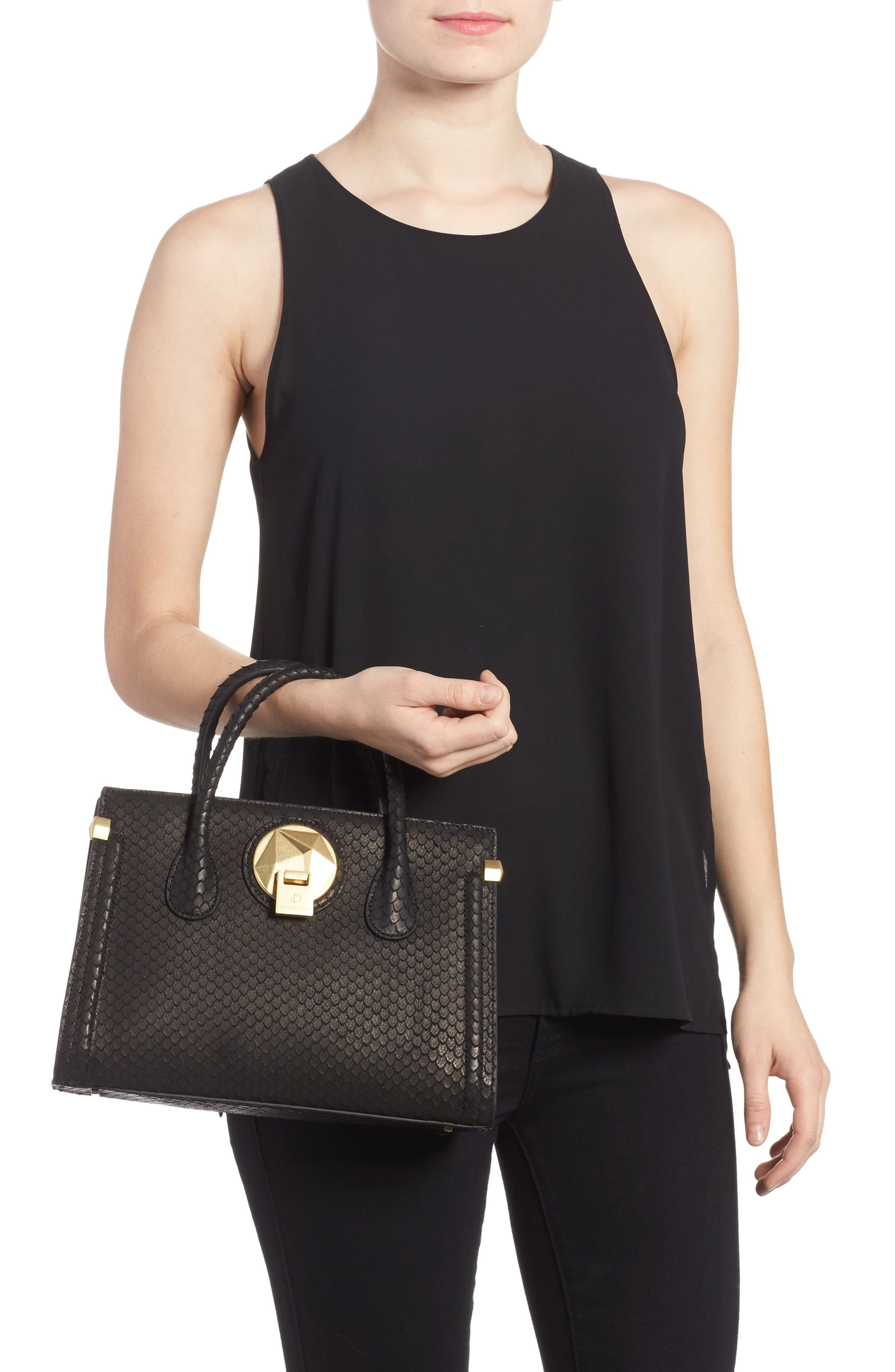 Céline Dion Octave Snake Embossed Leather Satchel,                             Alternate thumbnail 2, color,                             Black Snake