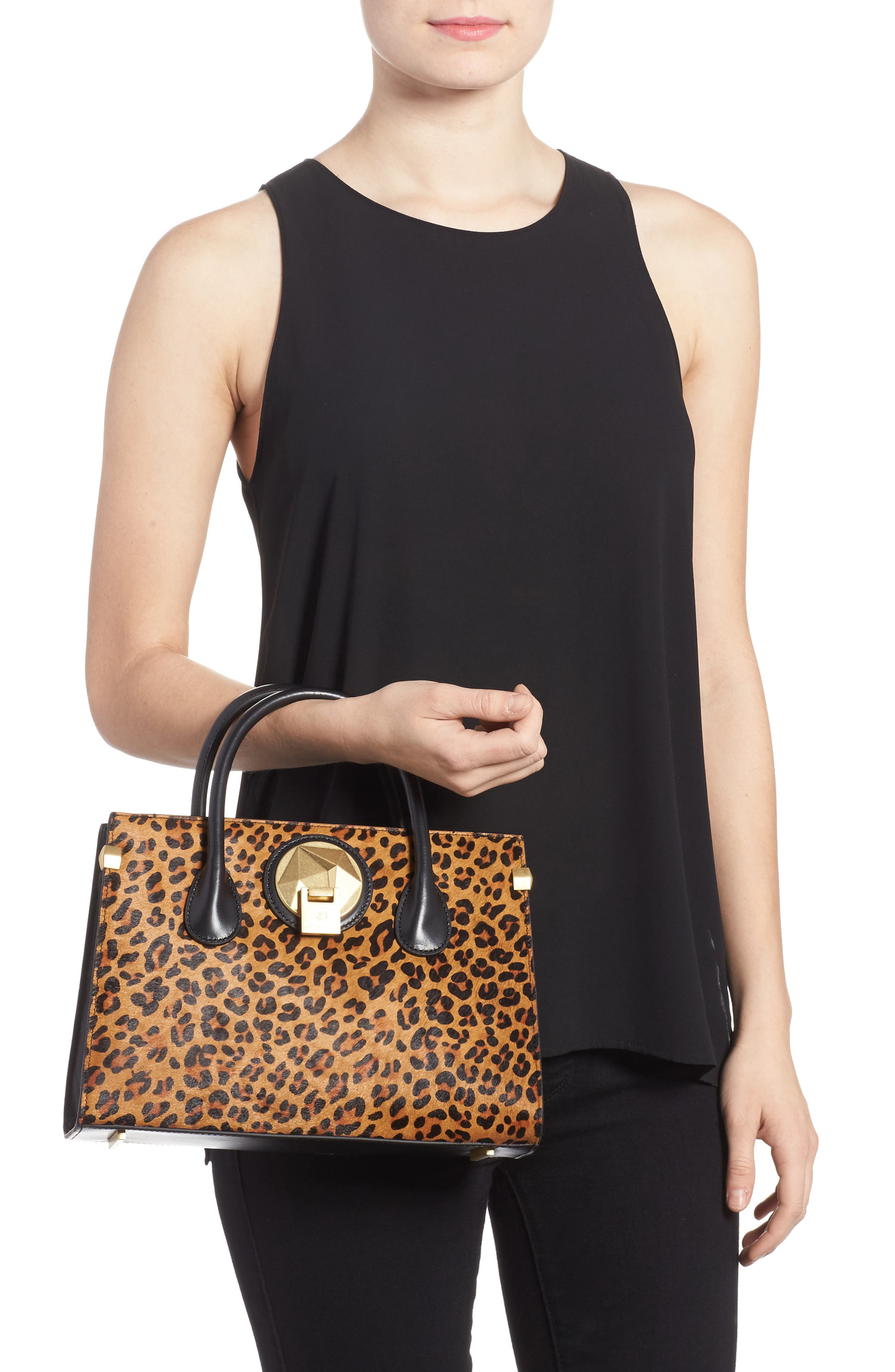 Céline Dion Leopard Print Genuine Calf Hair Octave Satchel,                             Alternate thumbnail 2, color,                             Leopard