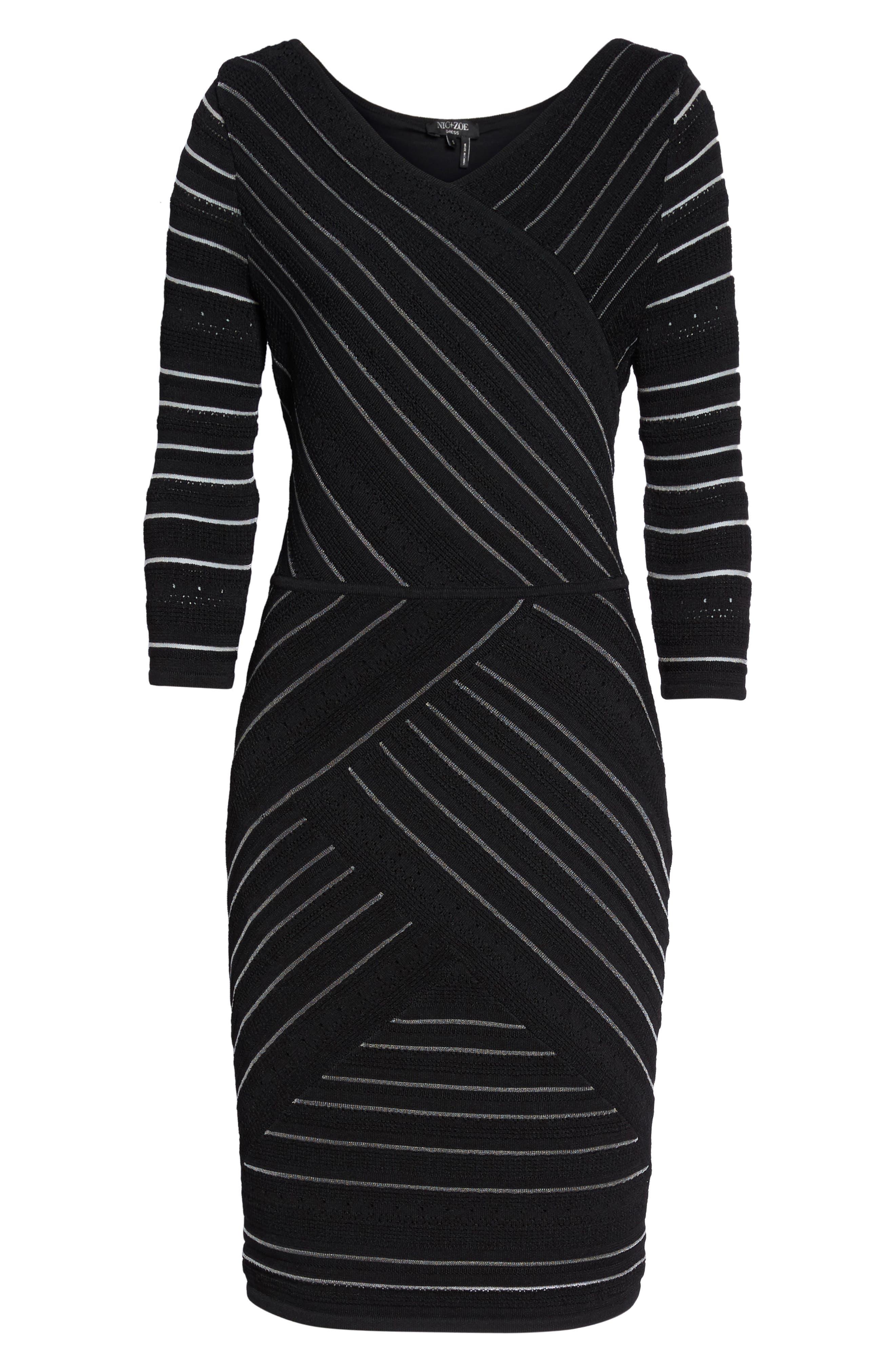 NIC+ ZOE Wrapped Up Sheath Dress,                             Alternate thumbnail 6, color,                             Black Onyx