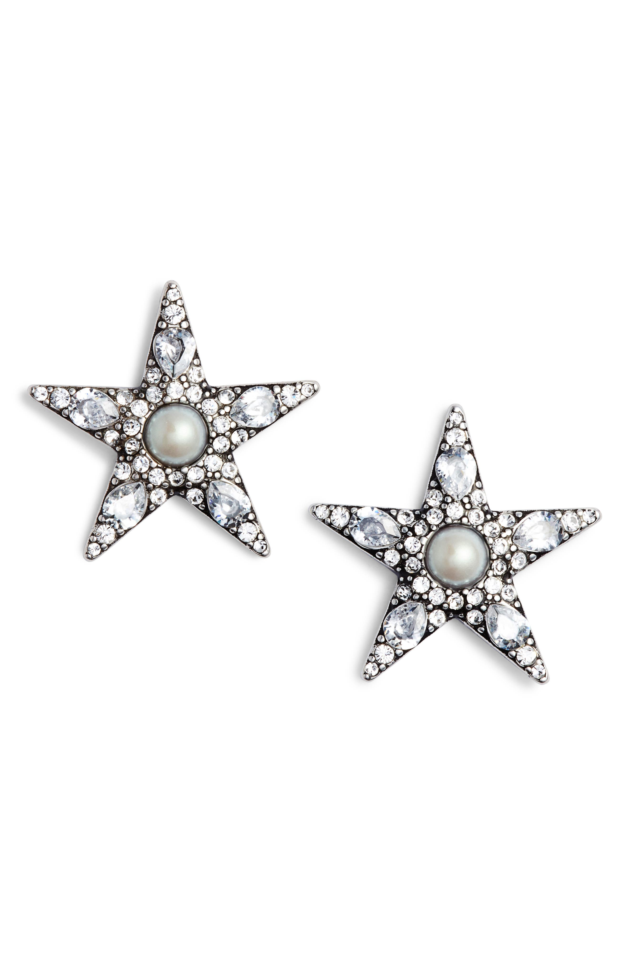 seeing stars statement stud earrings,                         Main,                         color, Silver