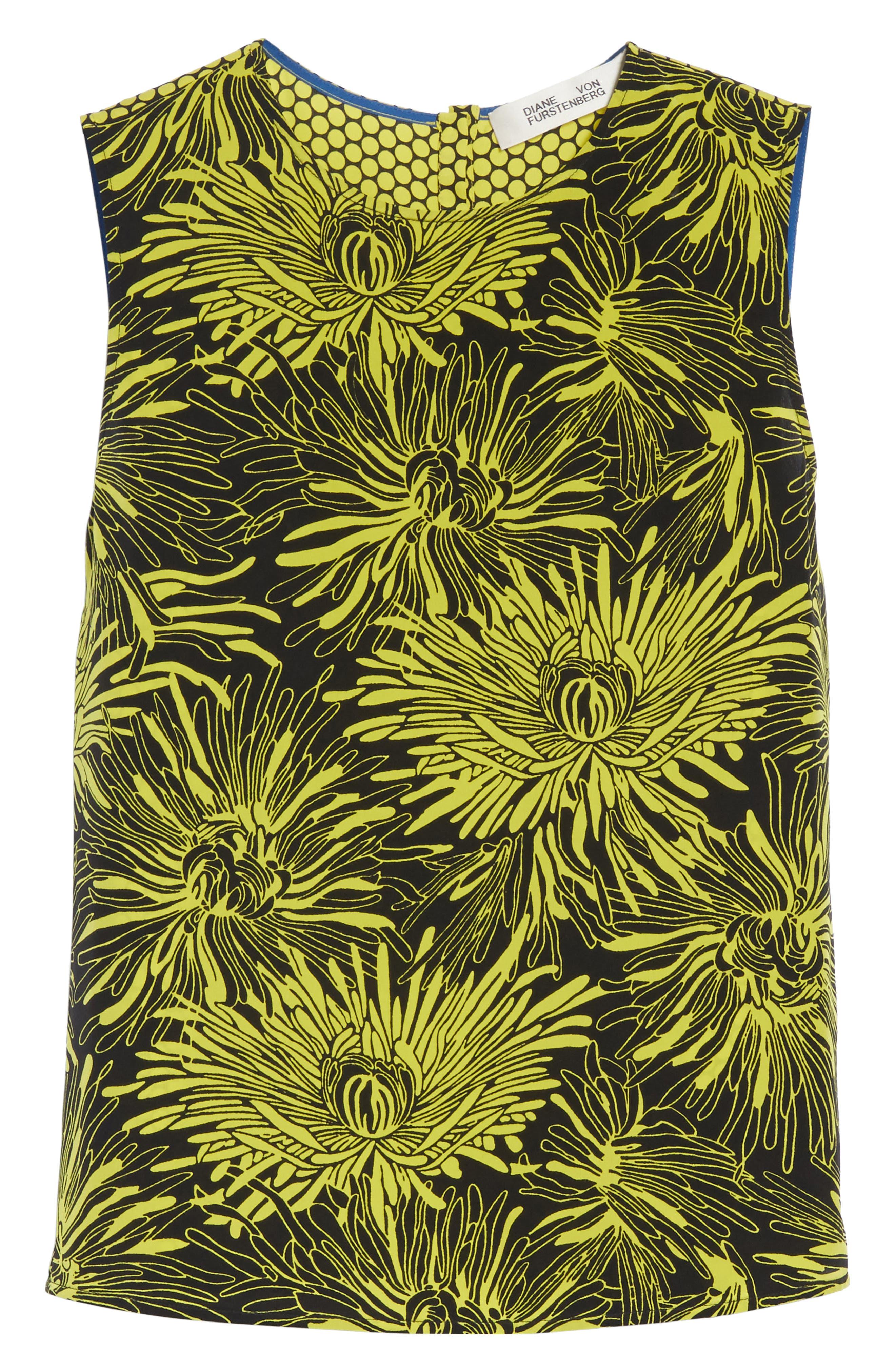 Diane von Furstenberg Floral Print Silk Shell,                             Alternate thumbnail 7, color,                             Worsley Citron/ Rowe Dot