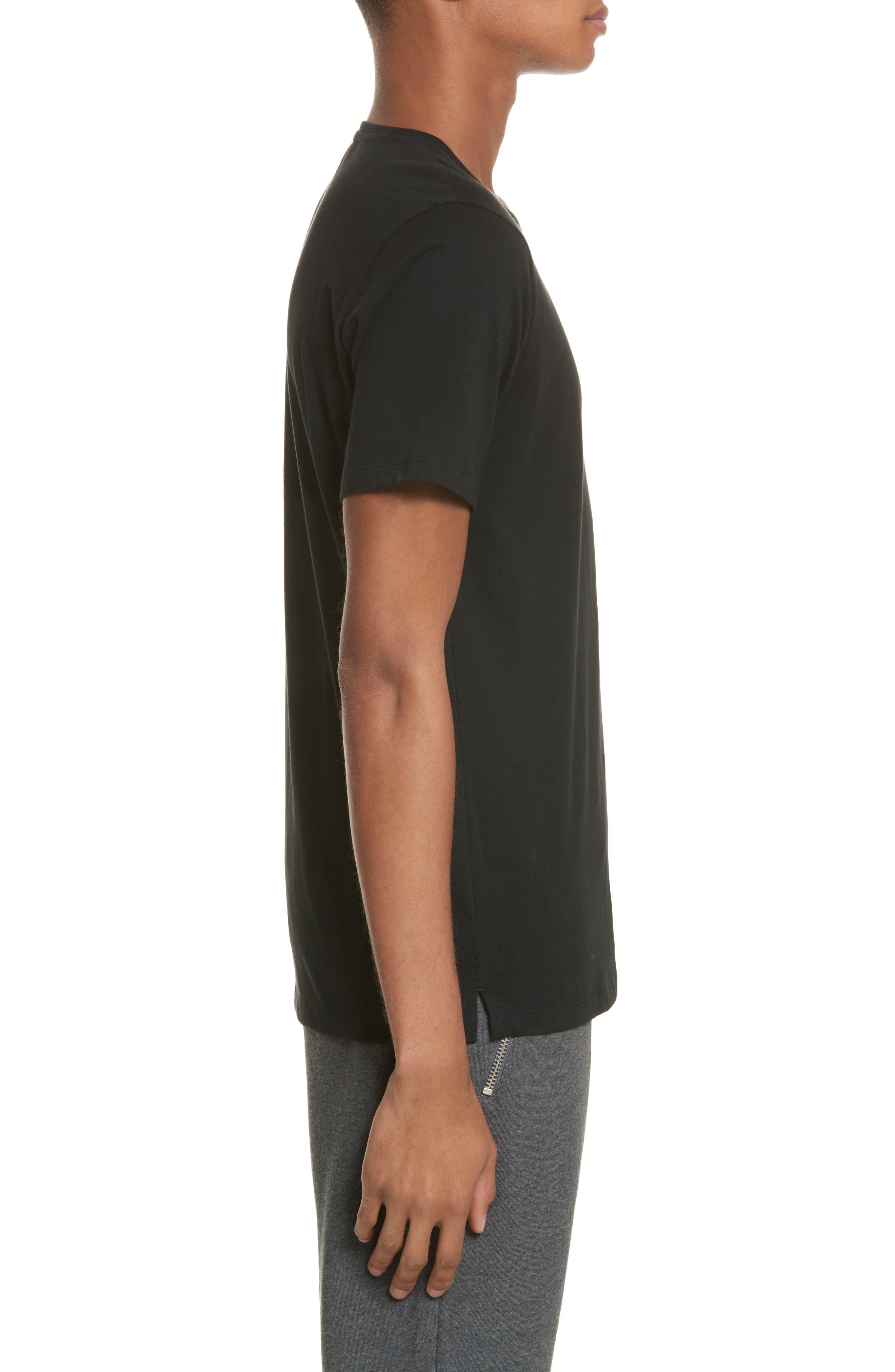Zip Pocket T-Shirt,                             Alternate thumbnail 3, color,                             Black