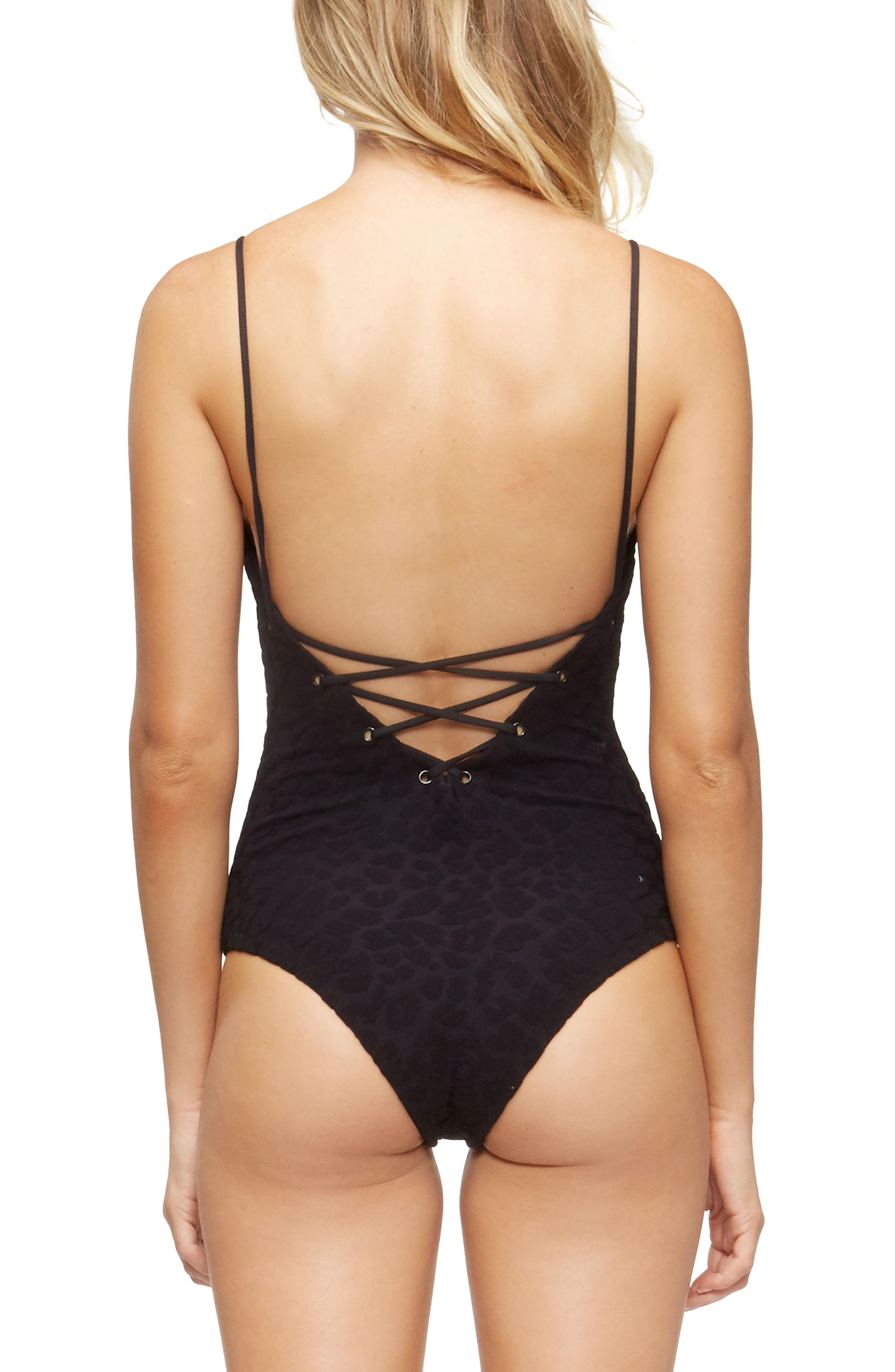 Monahan One-Piece Swimsuit,                             Alternate thumbnail 2, color,                             Textured Cheetah Black