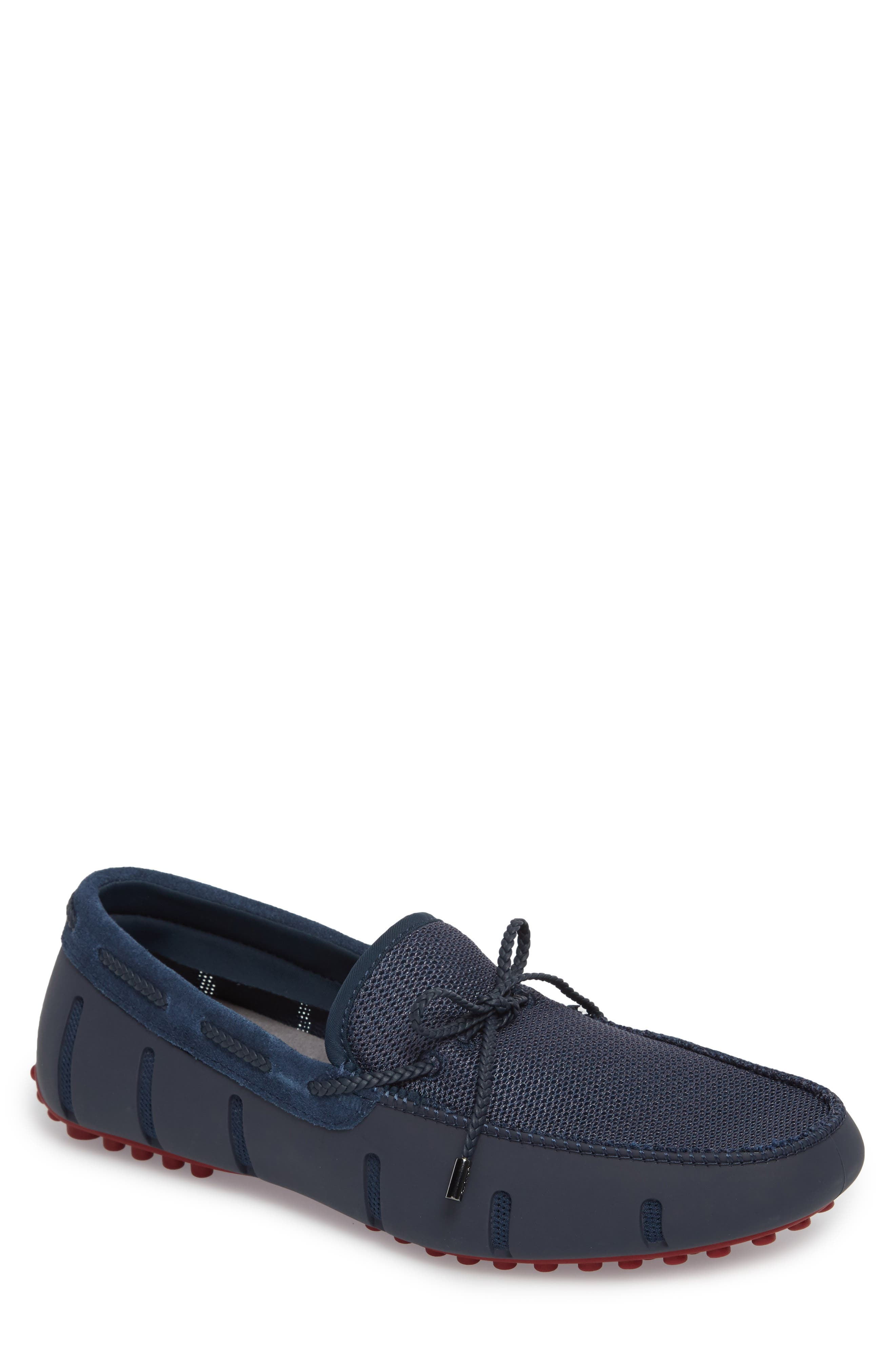 Driving Shoe,                         Main,                         color, Navy / Deep Red