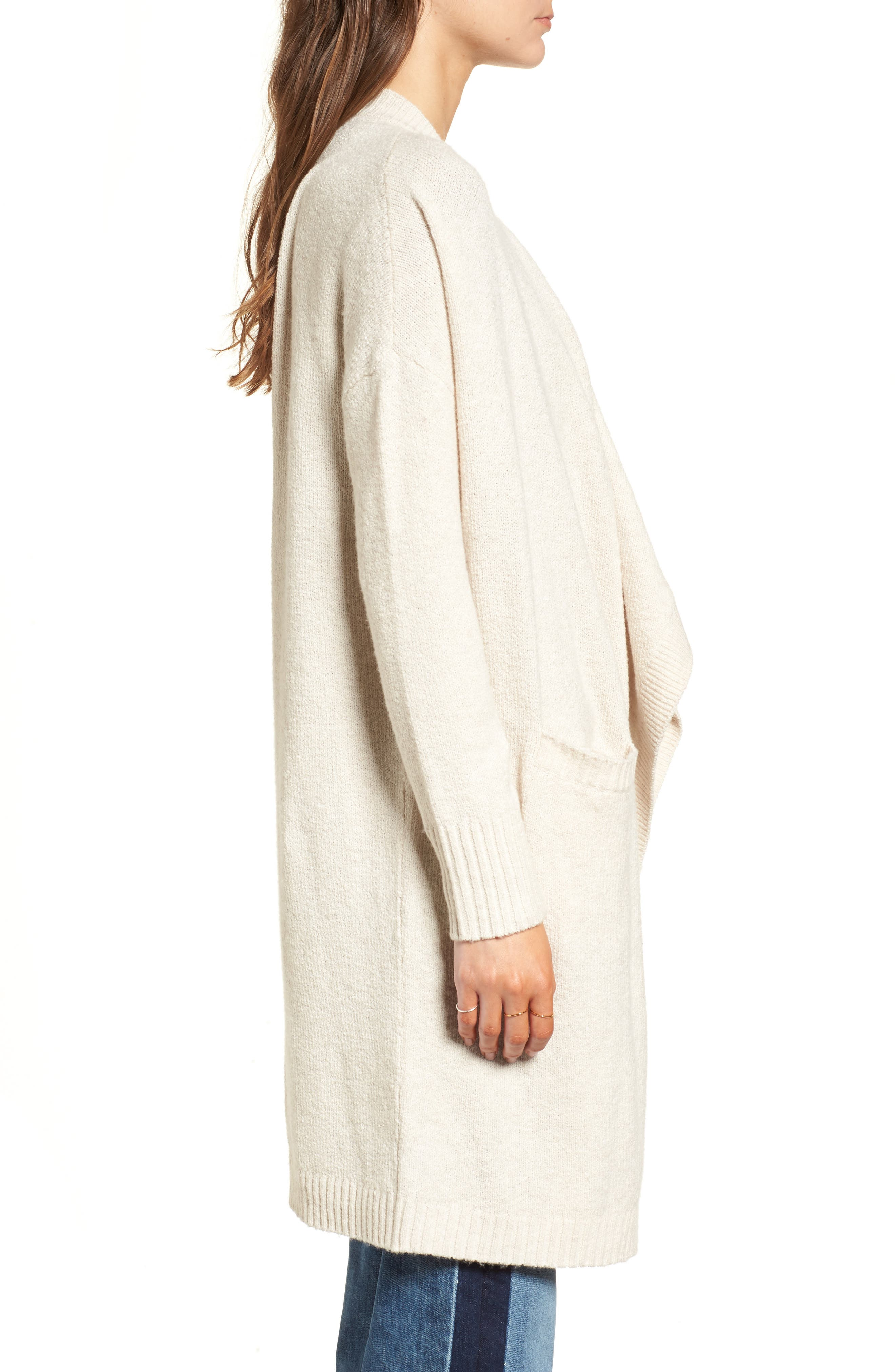 Drape Cardigan,                             Alternate thumbnail 3, color,                             Beige Oatmeal Heather