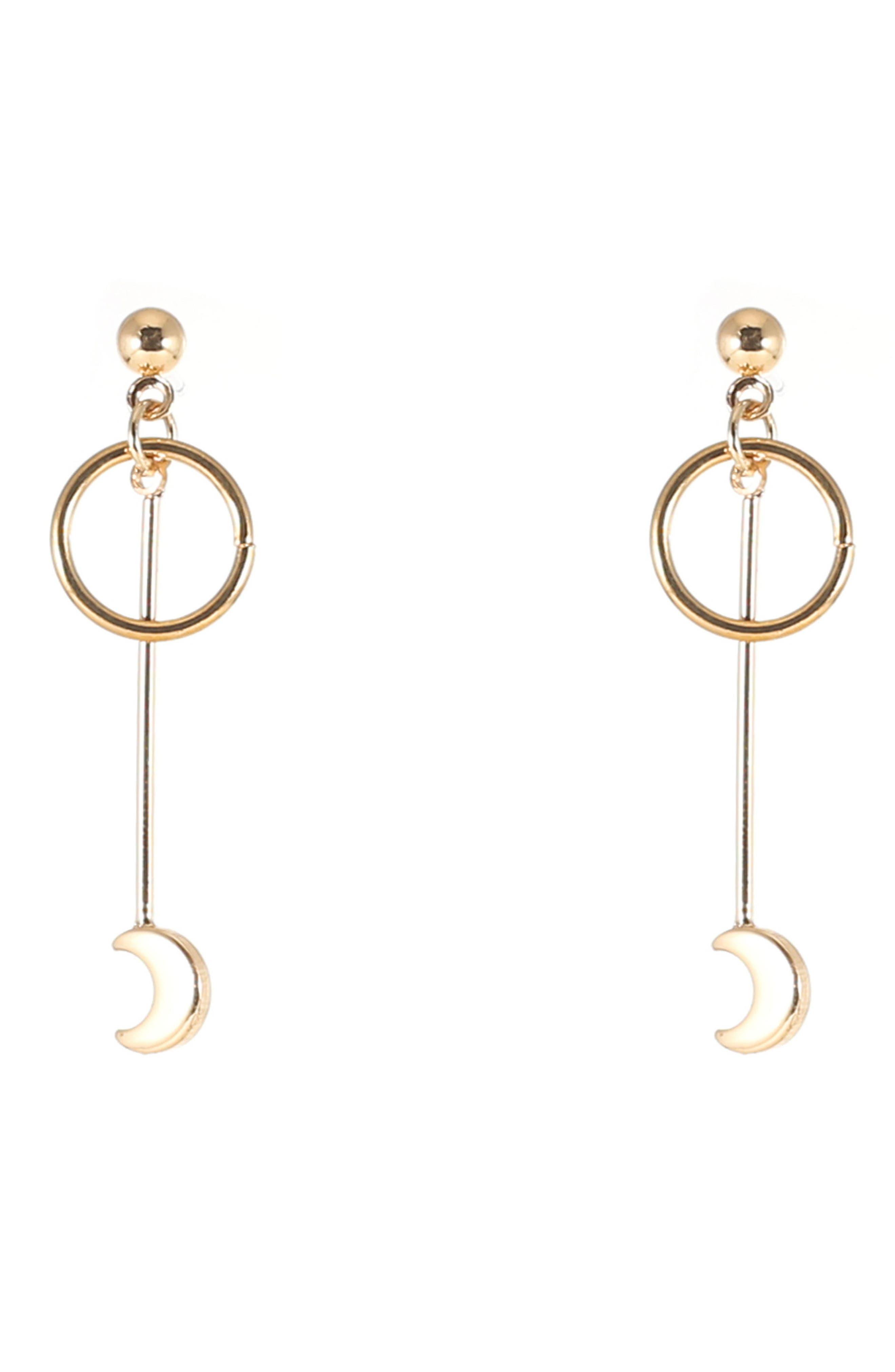 Circle & Moon Drop Earrings,                         Main,                         color, Gold