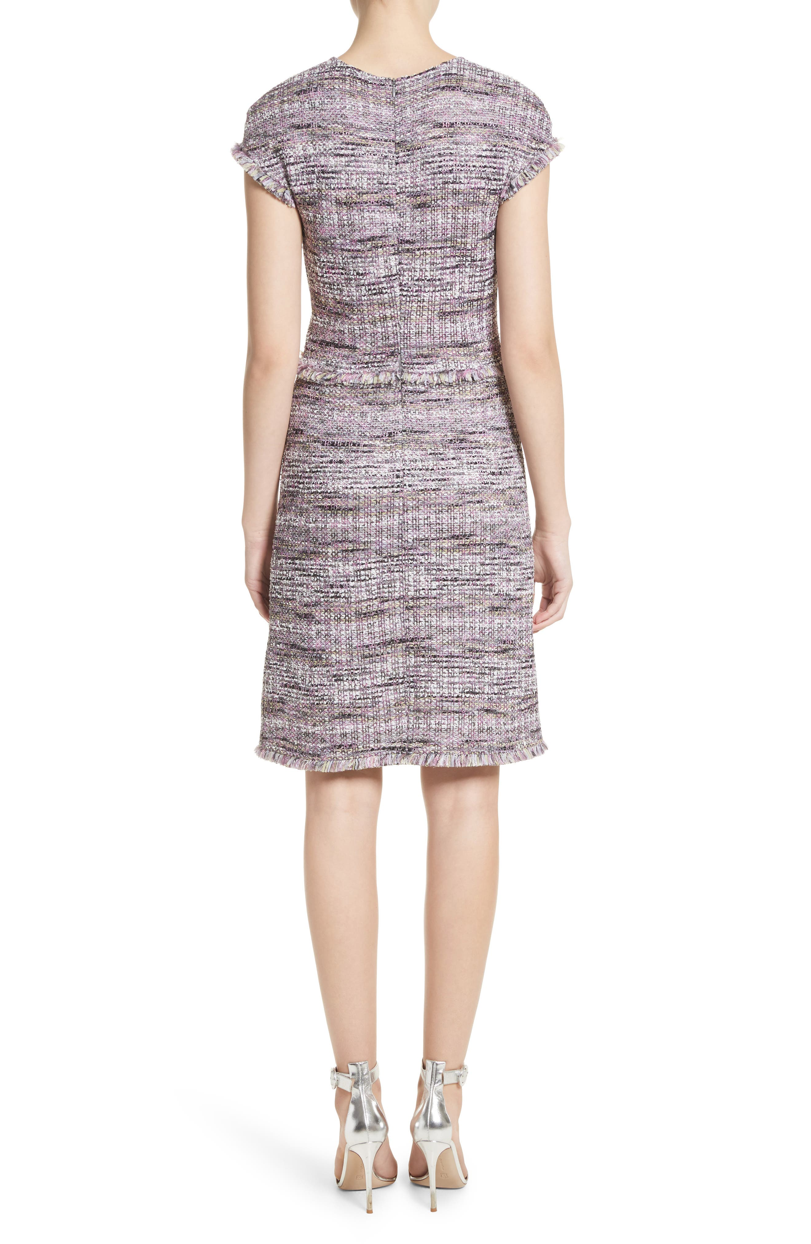 Anna Stripe Tweed Dress,                             Alternate thumbnail 2, color,                             Orchid Multi