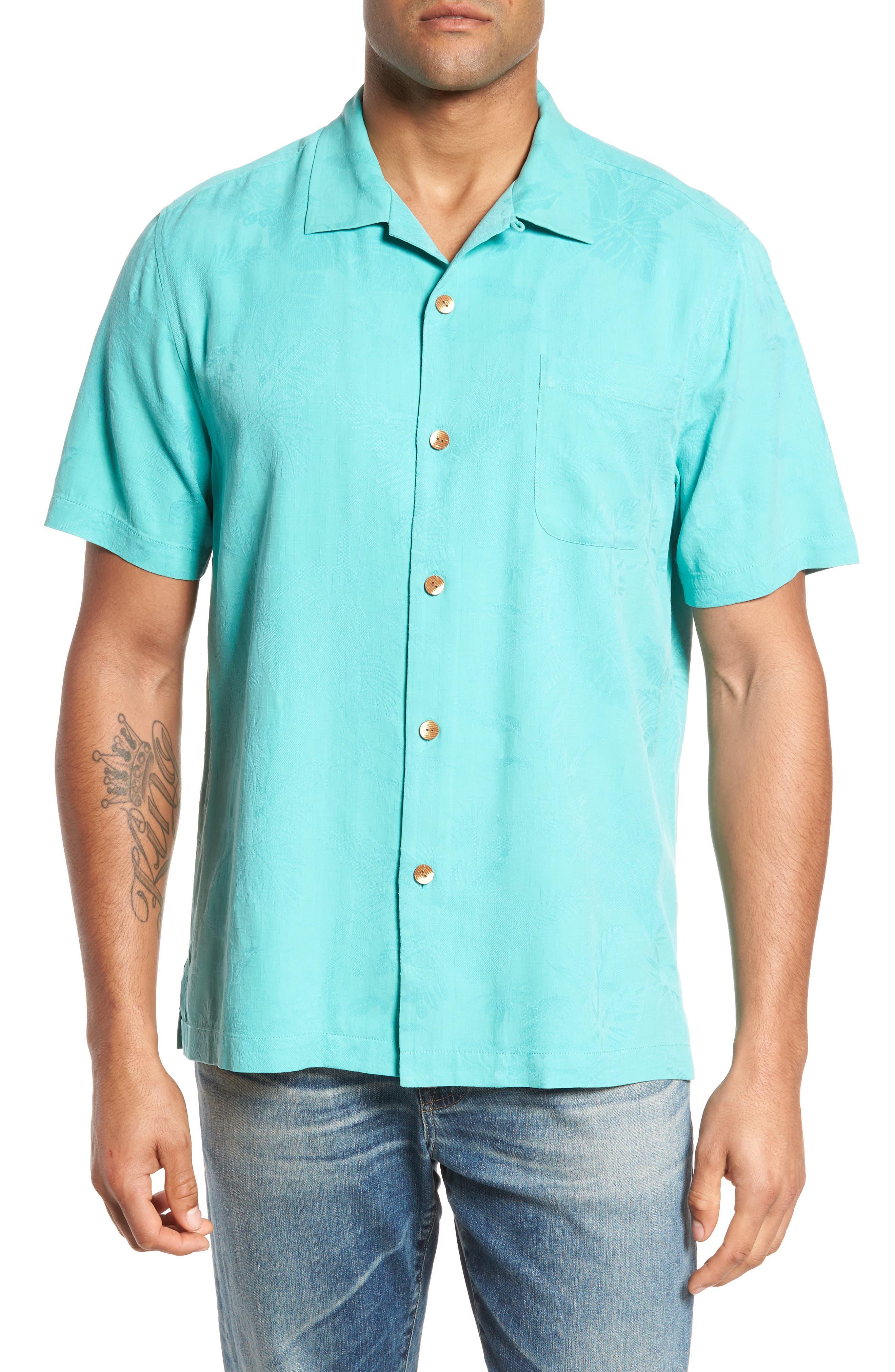 St Lucia Fronds Silk Camp Shirt,                             Main thumbnail 1, color,                             Castaway Green