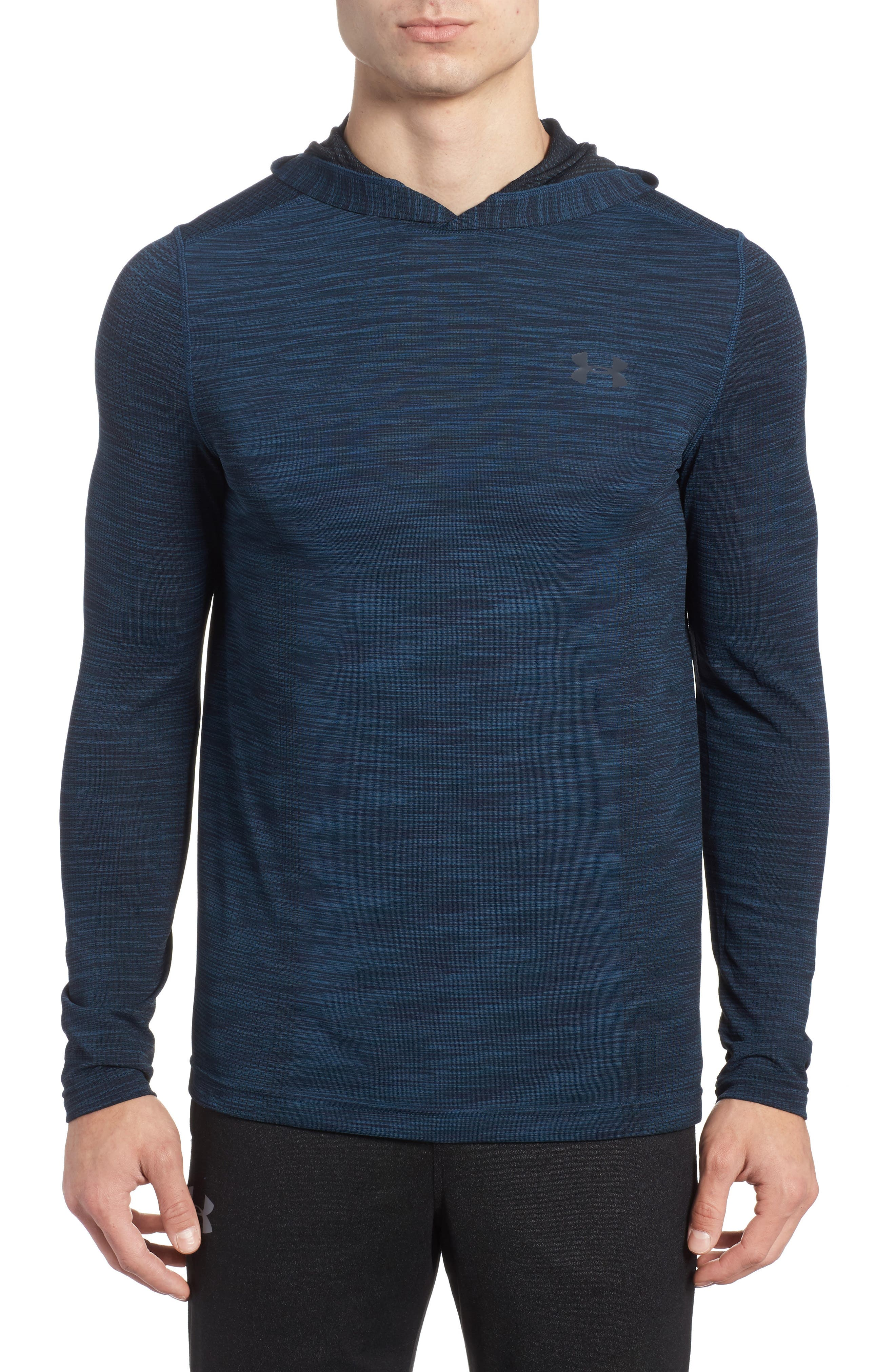 Threadbone Fitted Seamless Hoodie,                         Main,                         color, True Ink/ Anthracite