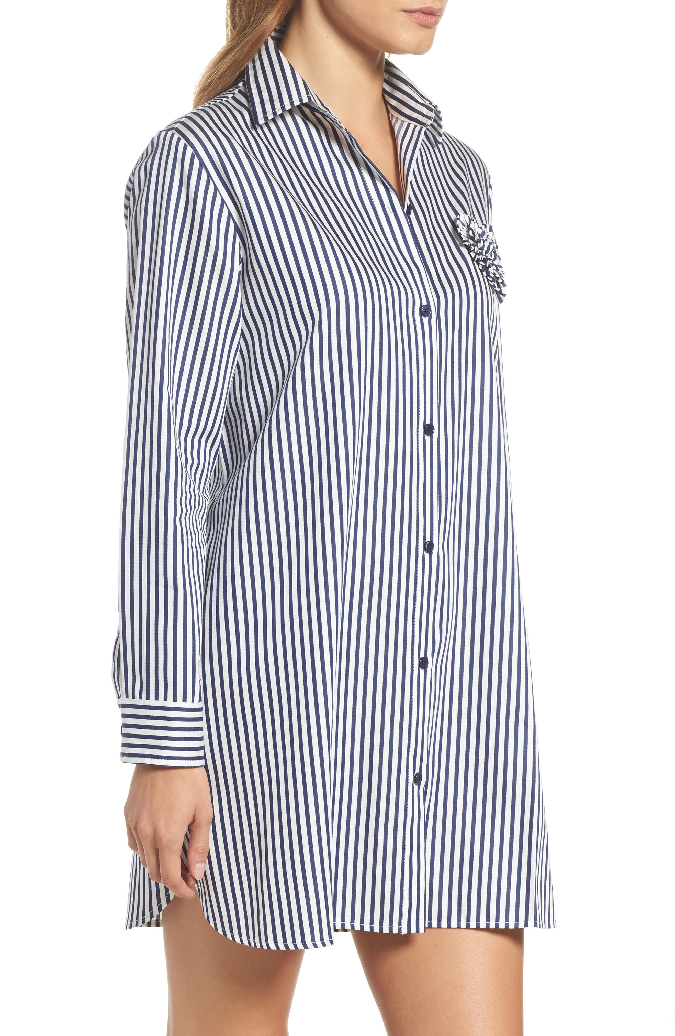 stripe sleep shirt,                             Alternate thumbnail 3, color,                             Navy Stripe