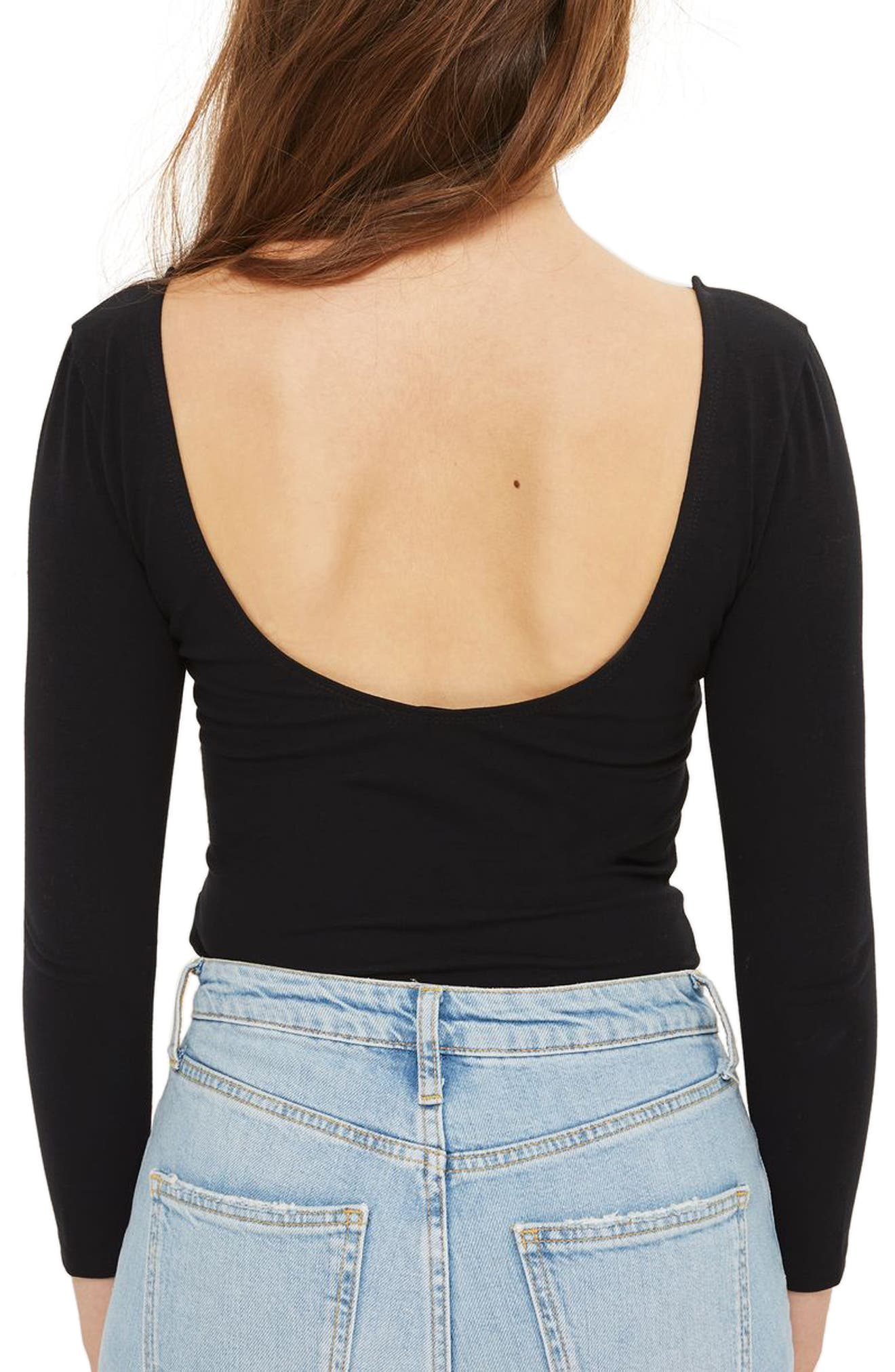 Scoop Back Bodysuit,                             Alternate thumbnail 3, color,                             Black
