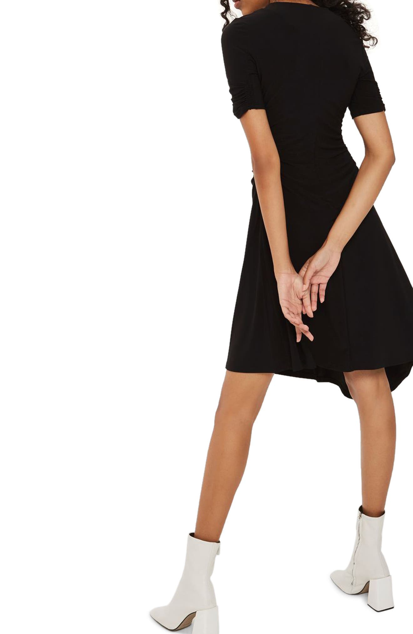 Ruched Asymmetrical Dress,                             Alternate thumbnail 3, color,                             Black