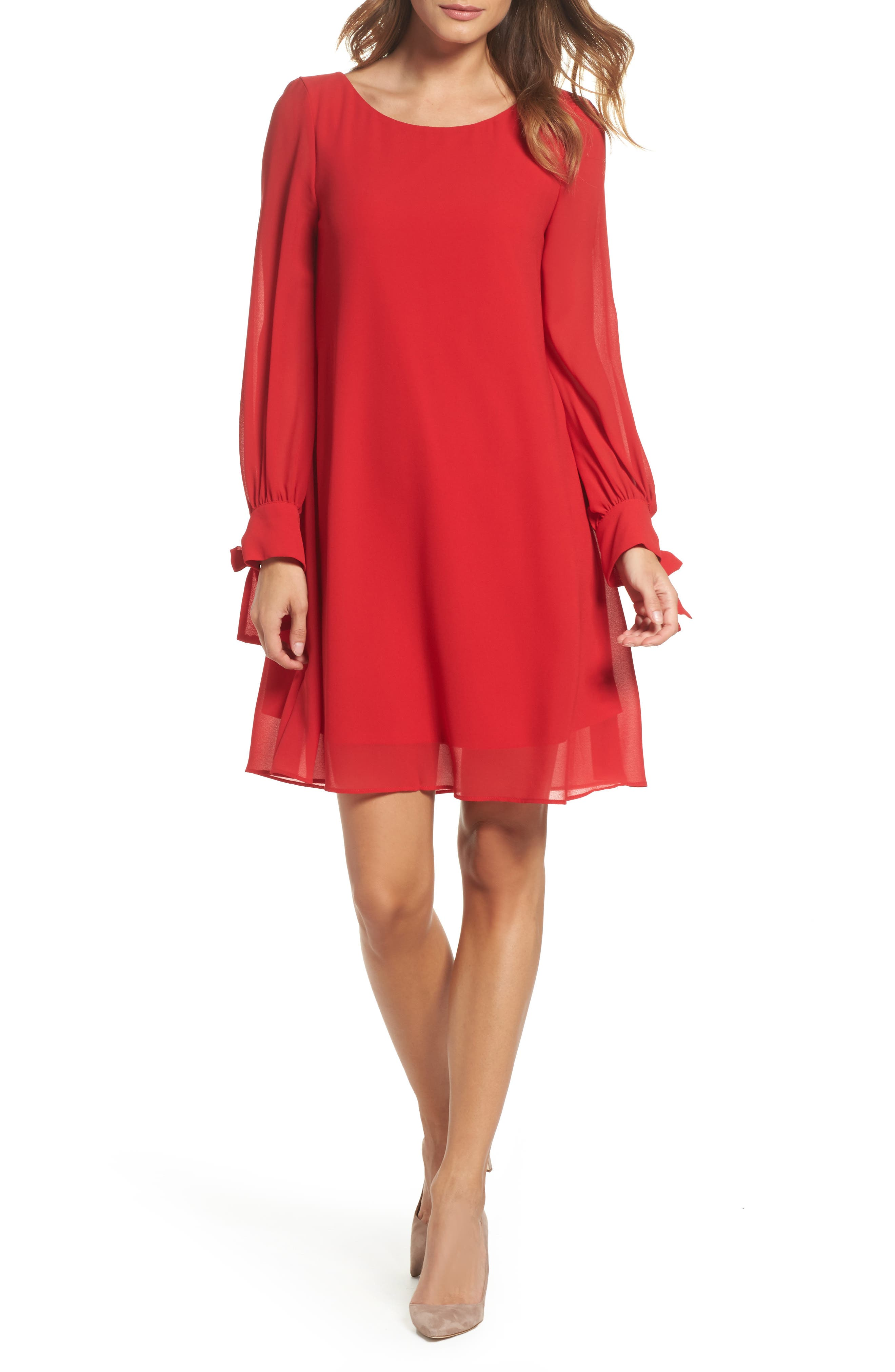 Souffle Chiffon Shift Dress,                         Main,                         color, Crimson