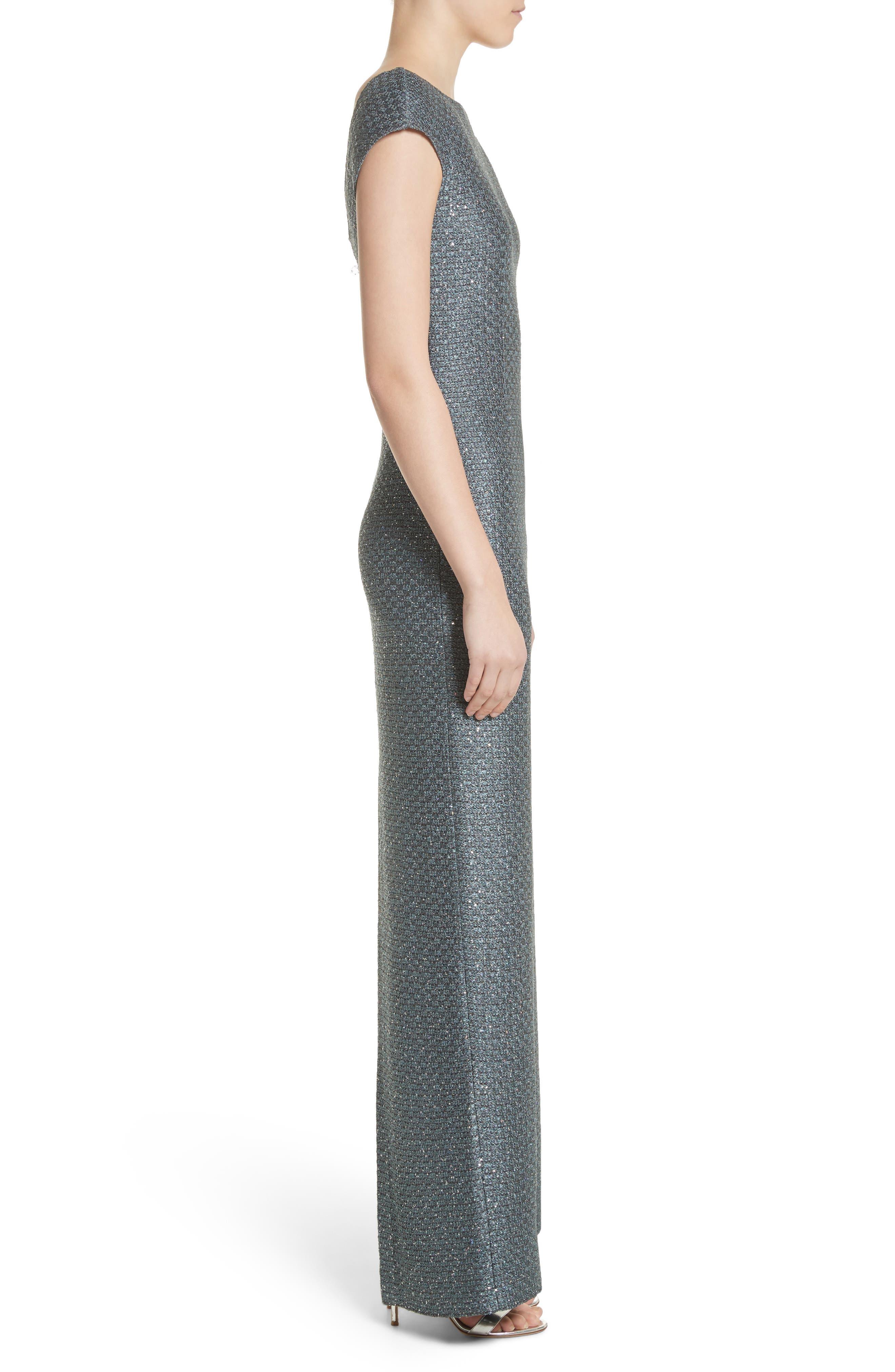 Spark Sequin Hansh Knit Column Gown,                             Alternate thumbnail 3, color,                             Dark Mint Multi