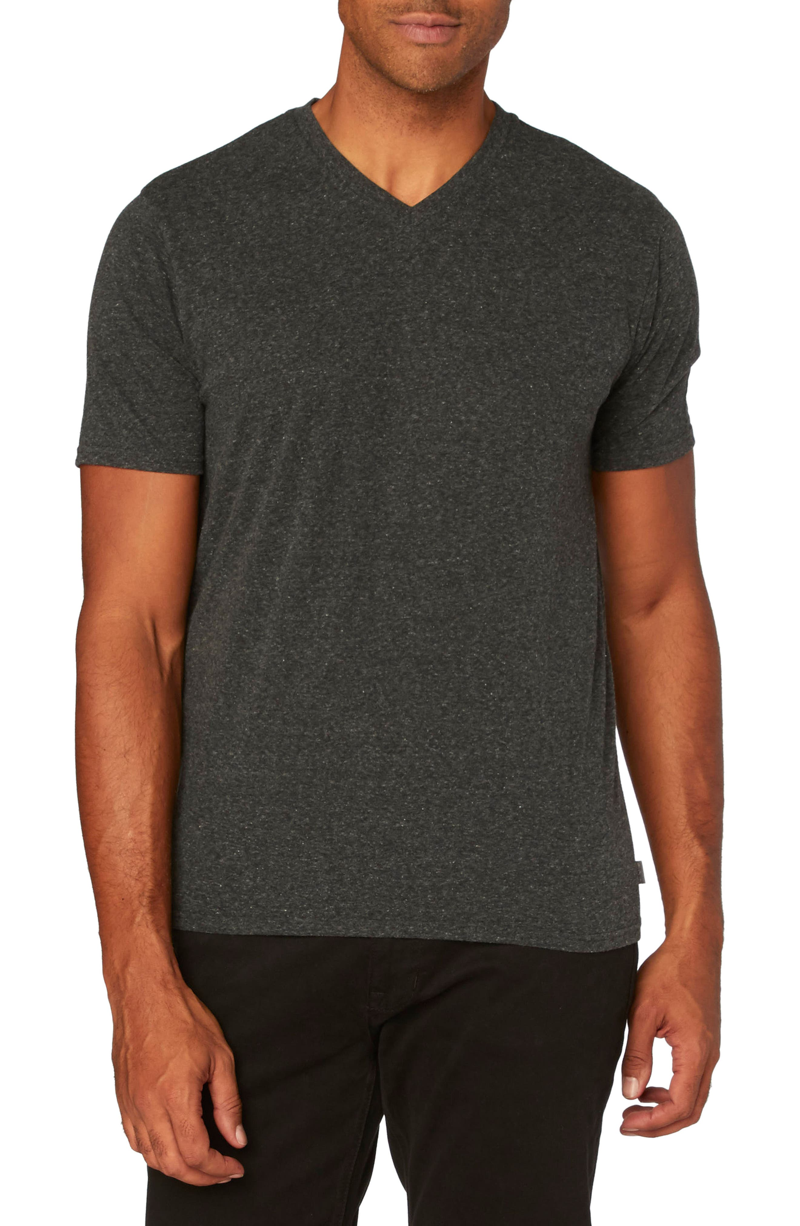 Threads for Thought Heather V-Neck,                         Main,                         color, Heather Black
