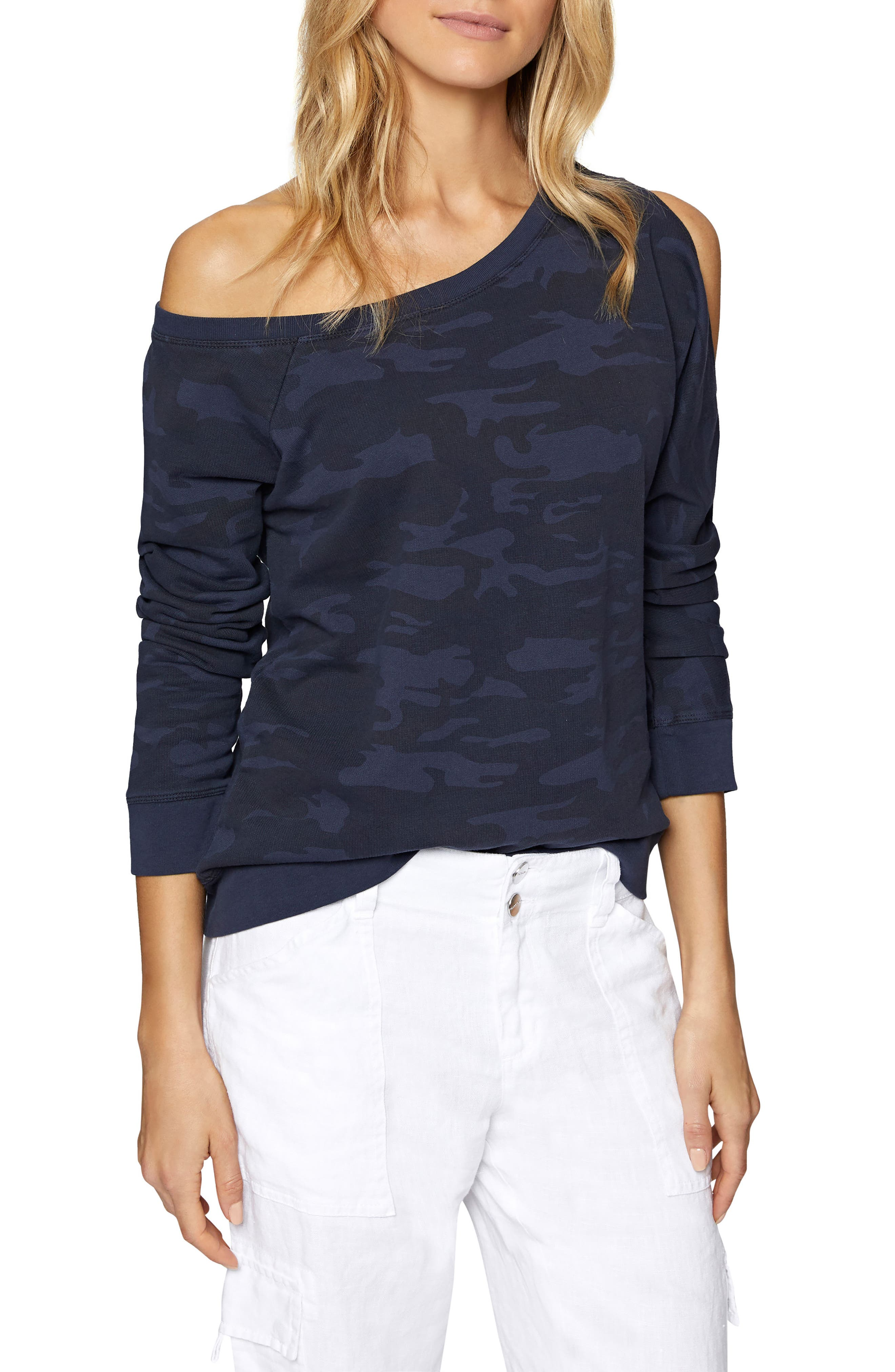 Alexi Asymmetrical Sweatshirt,                             Main thumbnail 1, color,                             Heritage Navy Camo