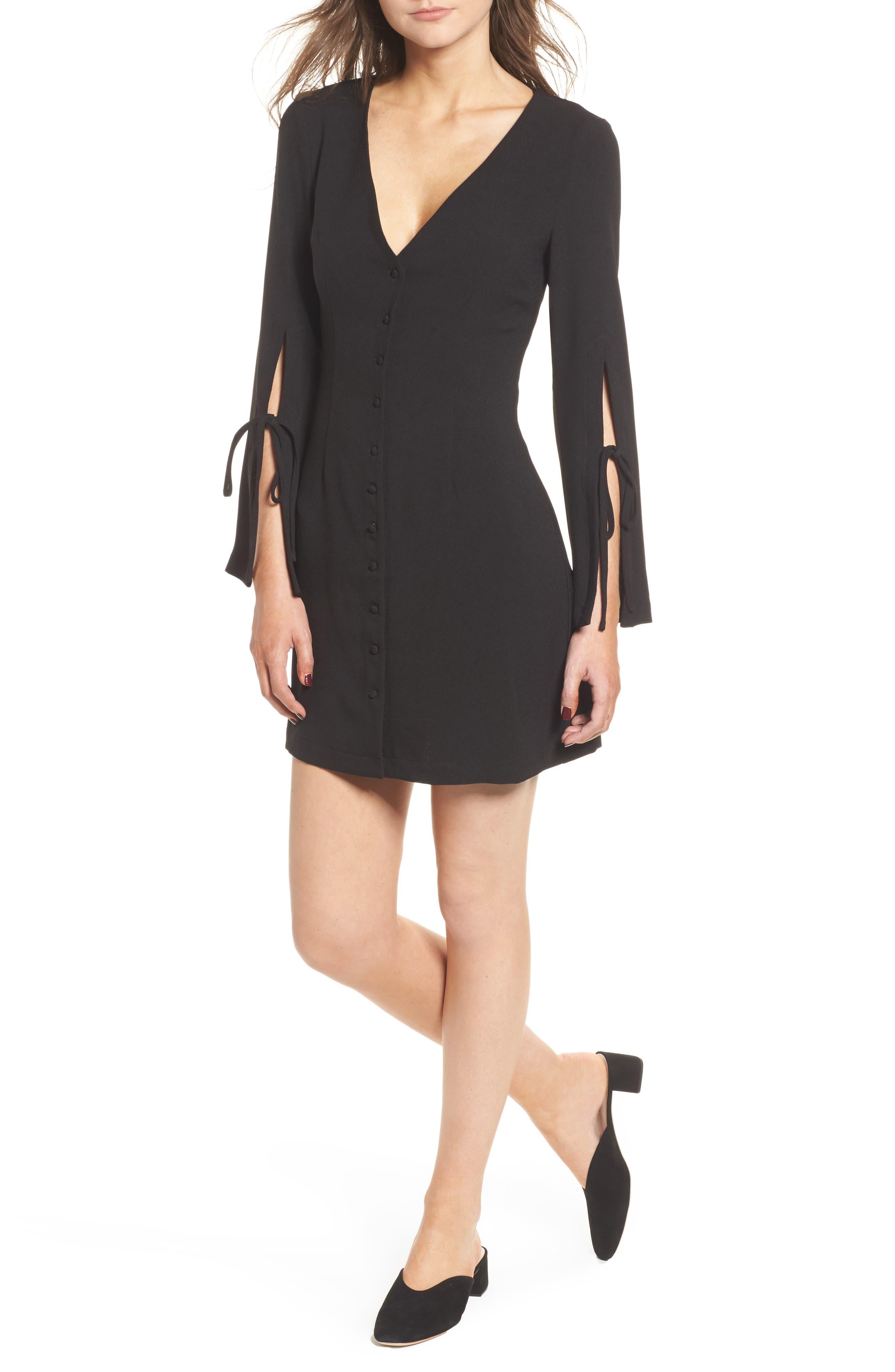 Jeanne Split Sleeve Minidress,                         Main,                         color, Black