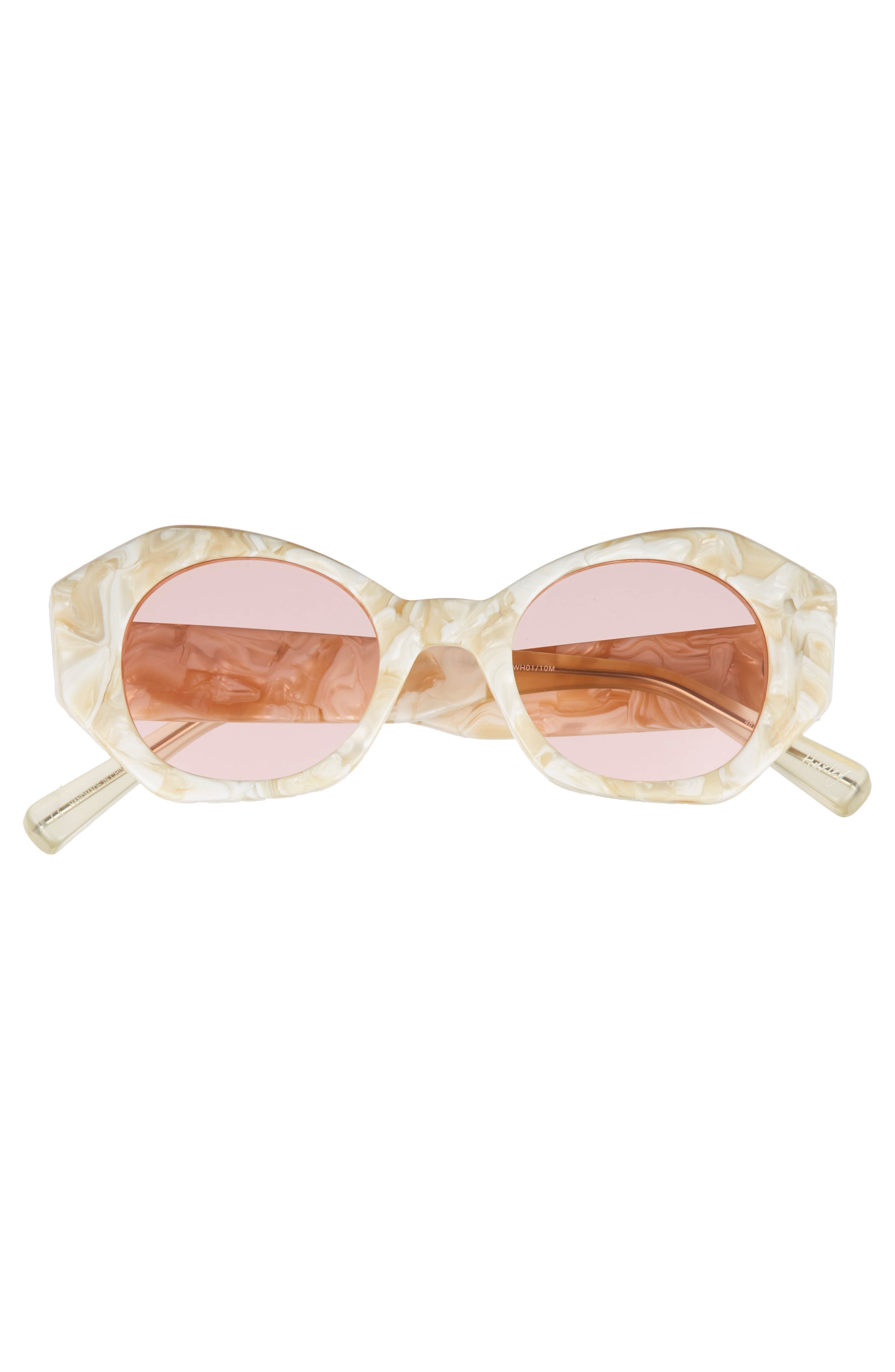Huxley 46mm Geometric Sunglasses,                             Alternate thumbnail 3, color,                             White/ Pink