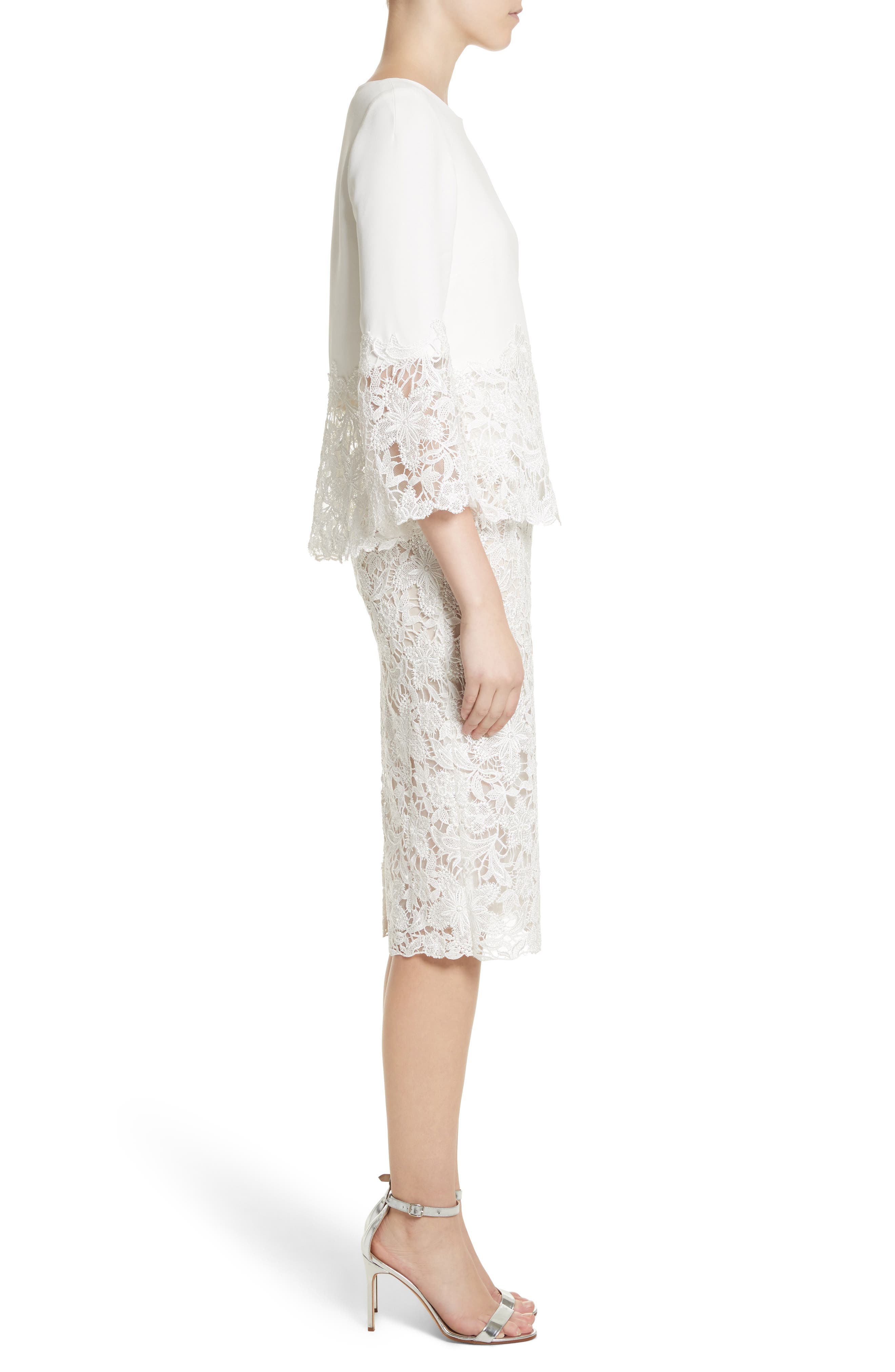 Crepe & Lace Top & Pencil Skirt,                             Alternate thumbnail 3, color,                             Silk White