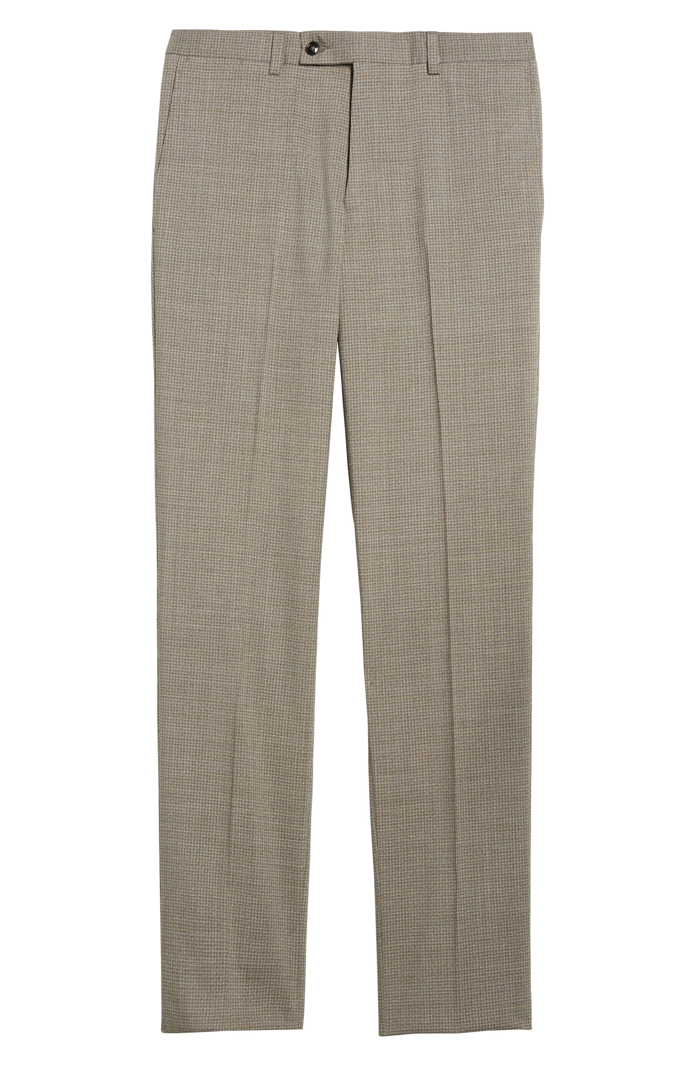 Flat Front Check Wool Trousers,                             Alternate thumbnail 6, color,                             Tan