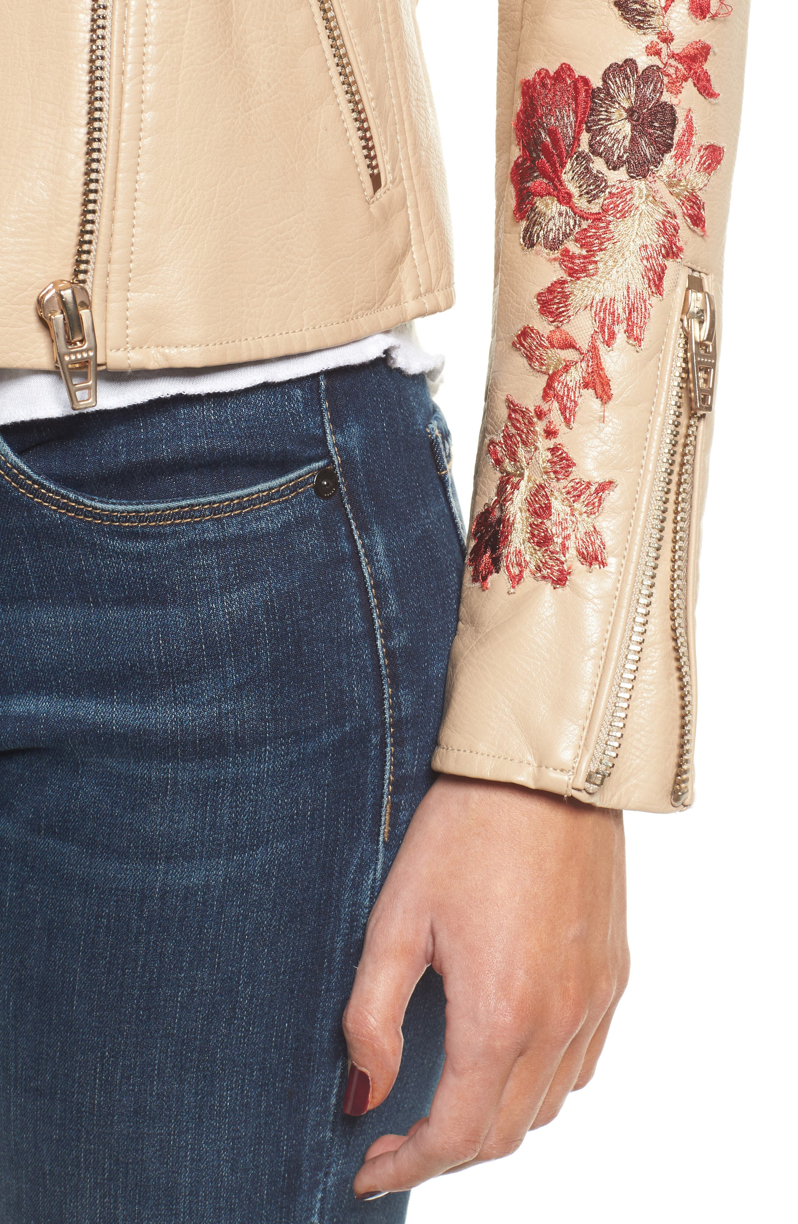 Embroidered Moto Jacket,                             Alternate thumbnail 4, color,                             Wildflower